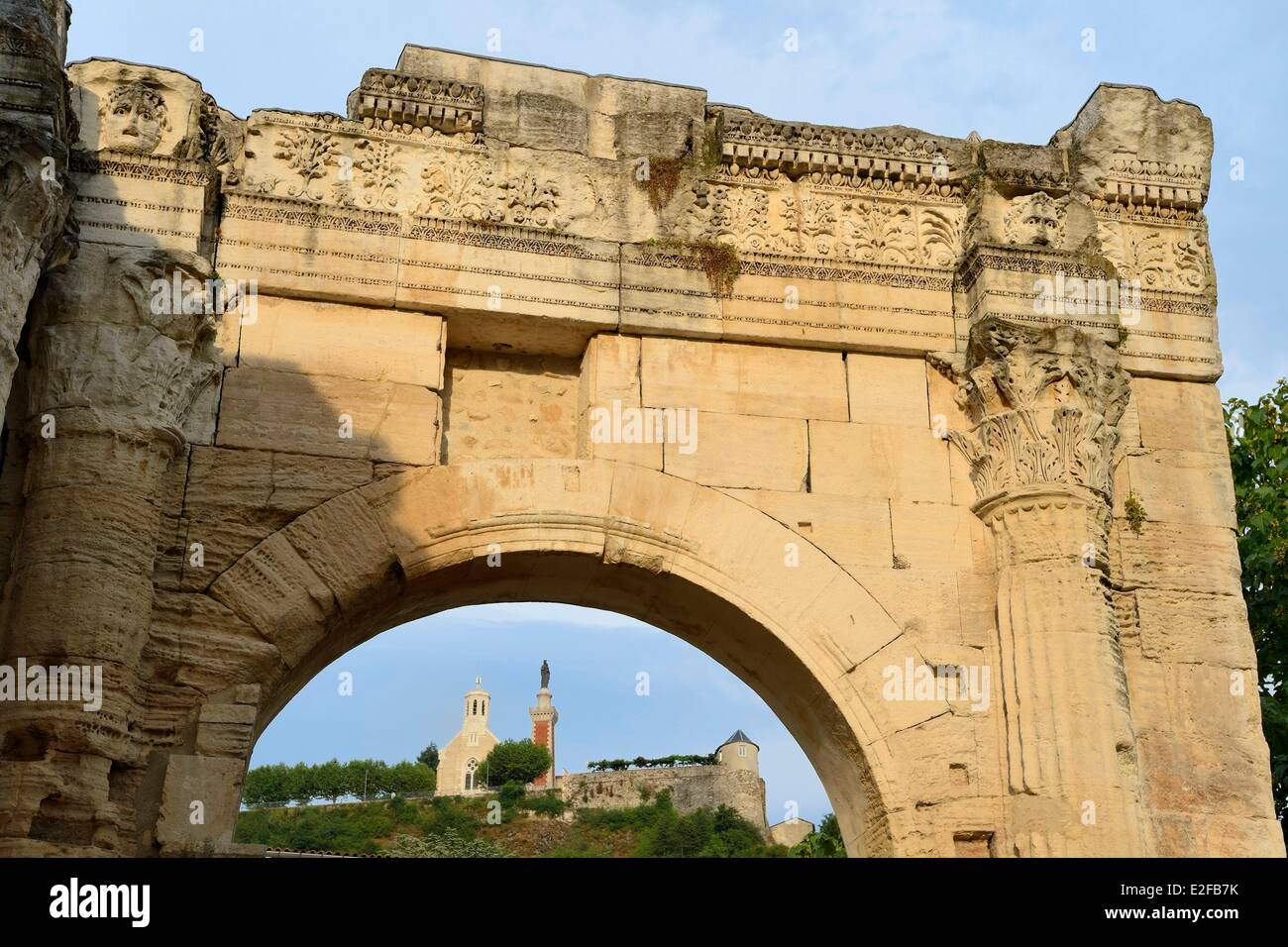 France, Isere, Vienne, portico of the Cybele archaeological garden - Stock Image