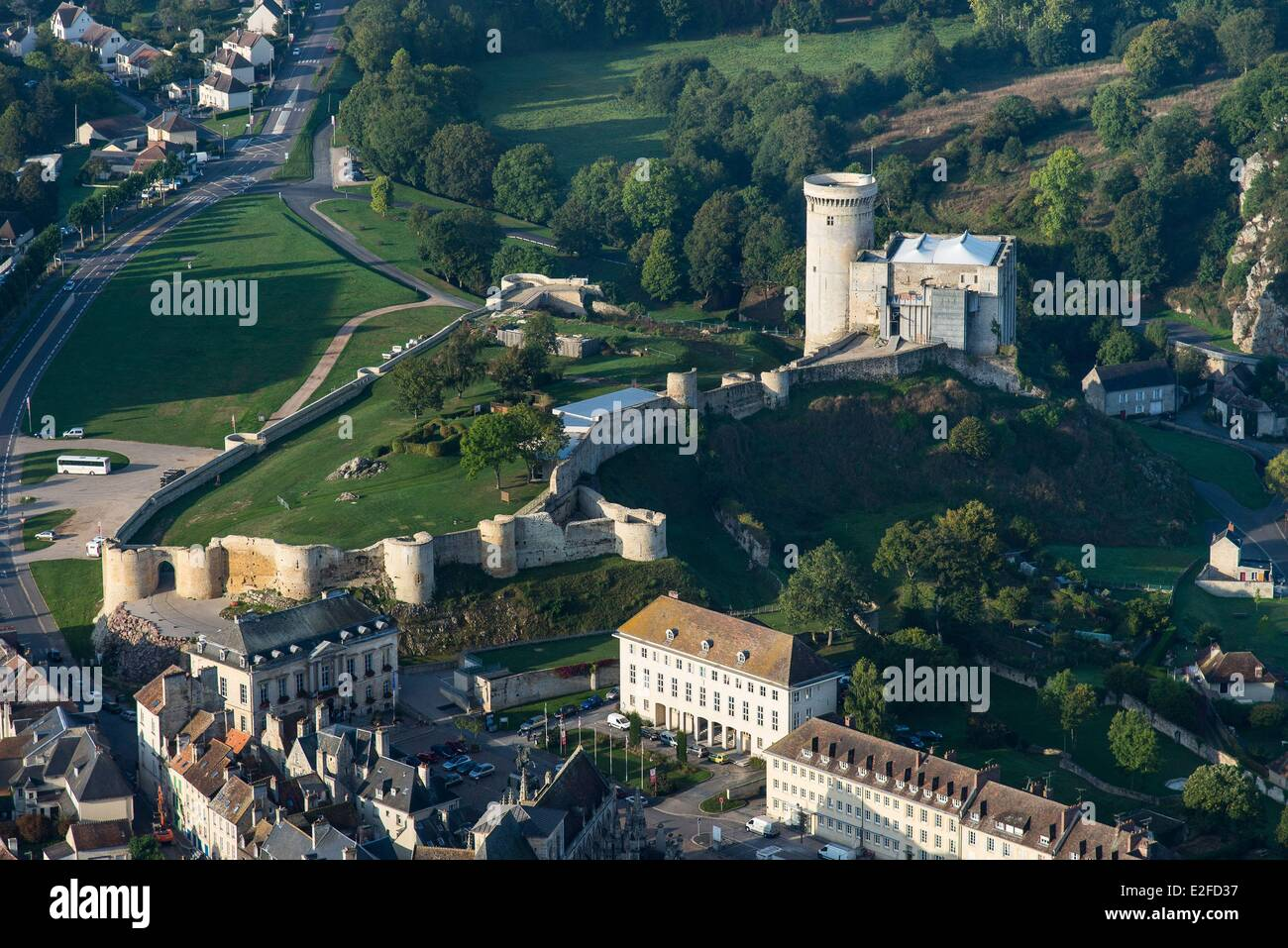 France, Calvados, Falaise, Falaise castle dated 12th 13th century (aerial view) Stock Photo