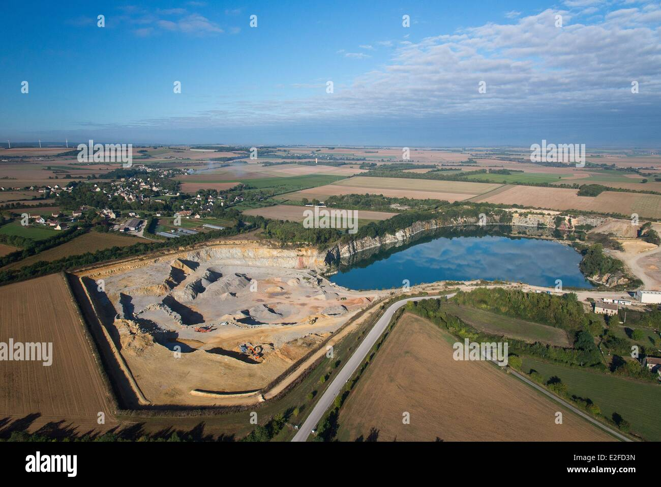 France, Calvados, Perrieres, stone quarries (aerial view) - Stock Image