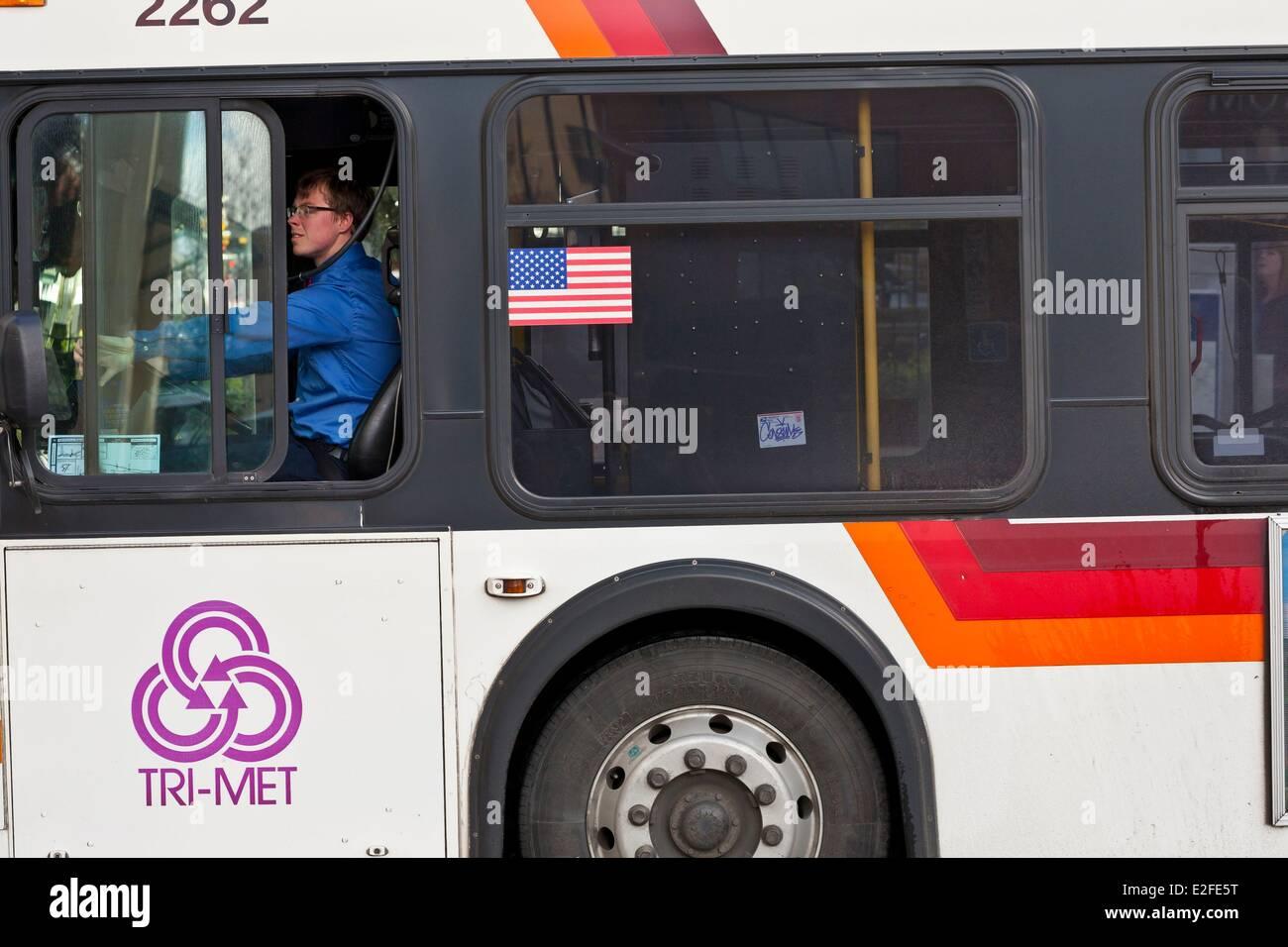 United States, Oregon, Portland, bus driver - Stock Image