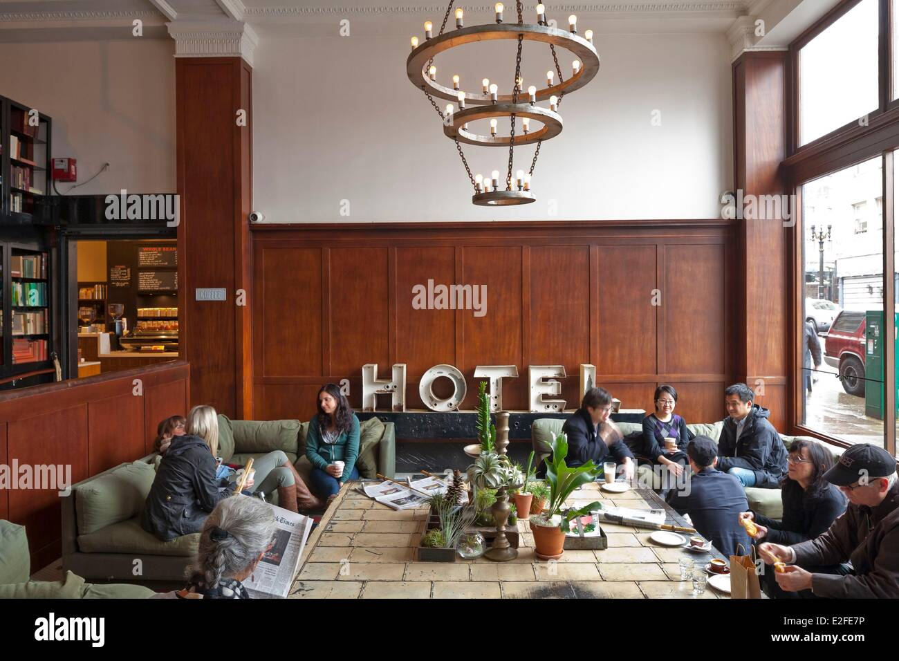 United States, Oregon, Portland, downtown, SW Stark Street, Ace Hotel opened in 2007, lobby - Stock Image