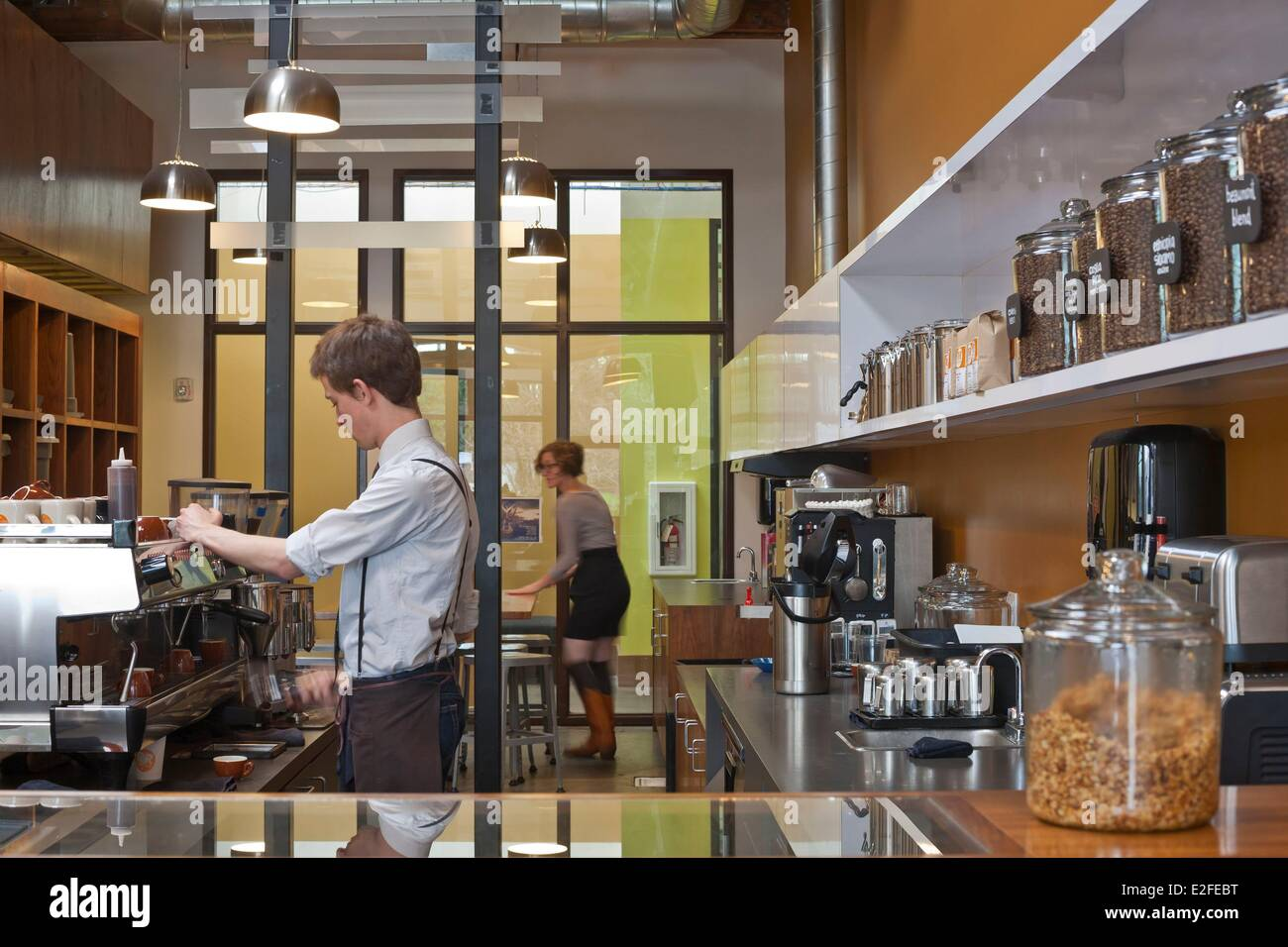 United States, Oregon, Portland, North Williams, Ristretto Roasters cafe - Stock Image