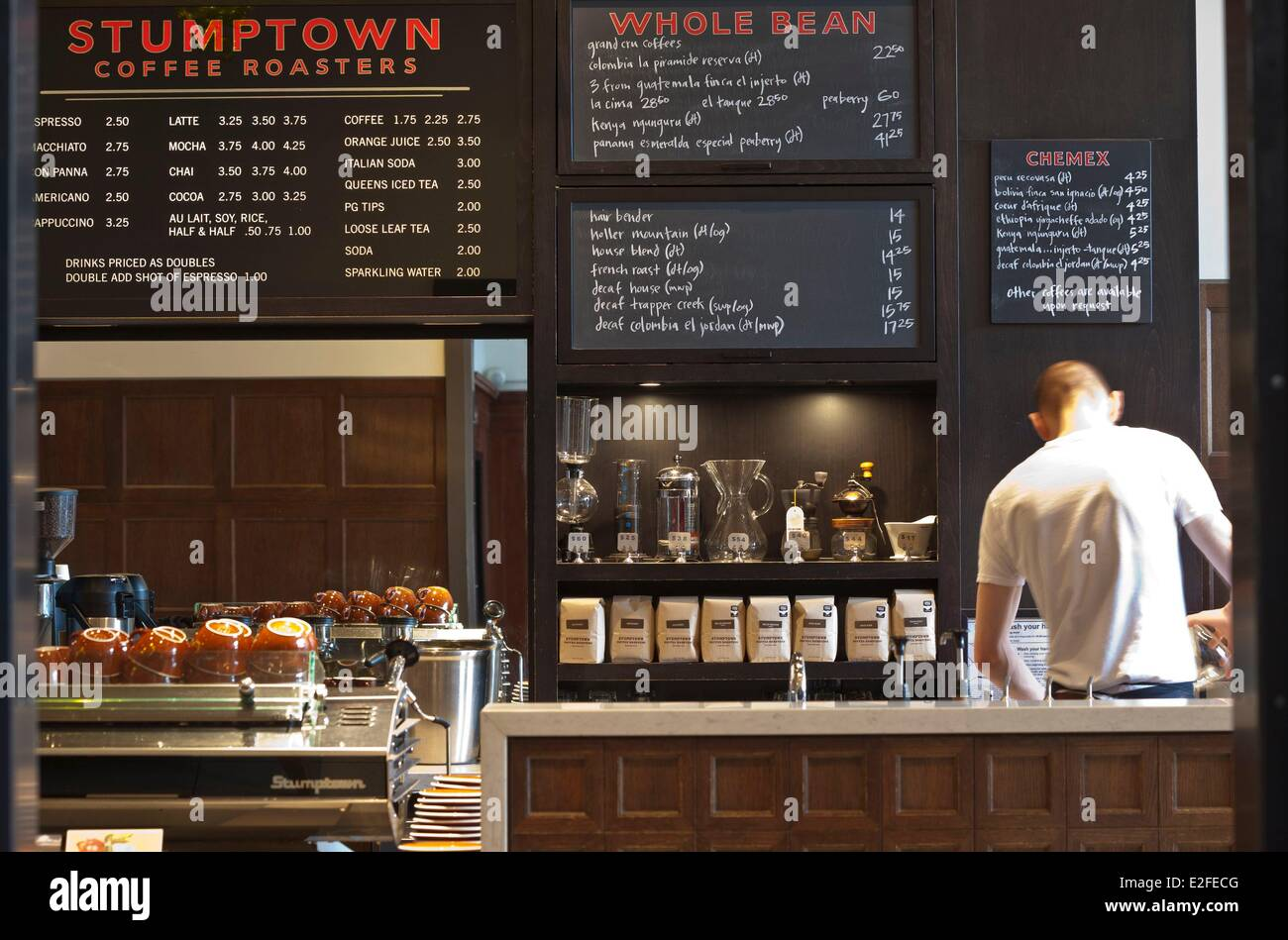 United States, Oregon, Portland, SW Stark Street, Stumptown Coffee Roasters cafe, brand founded locally in 1999 - Stock Image