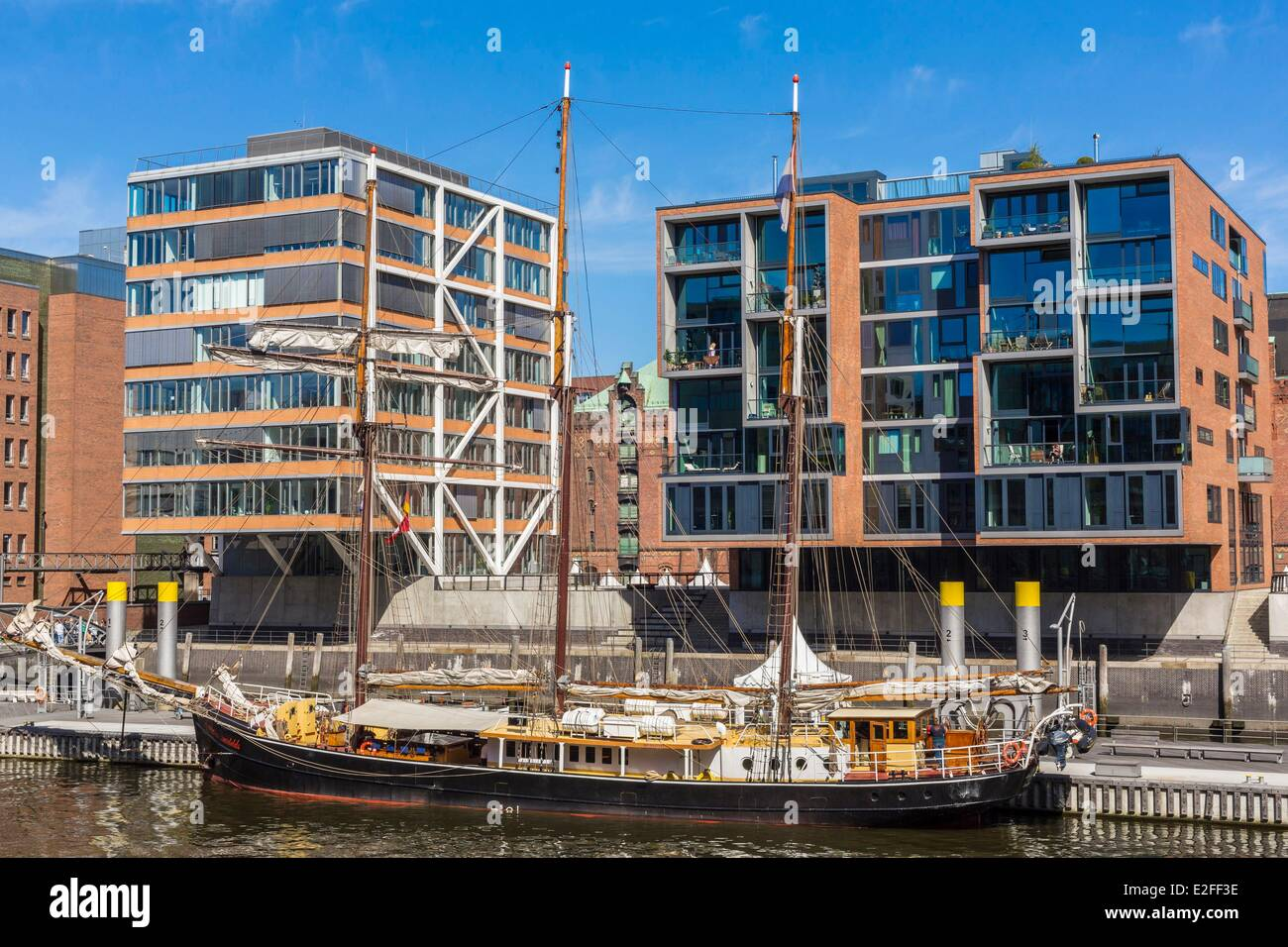 Germany Hamburg HafenCity which develops the most important project of European urban planning with the rehabilitation Stock Photo
