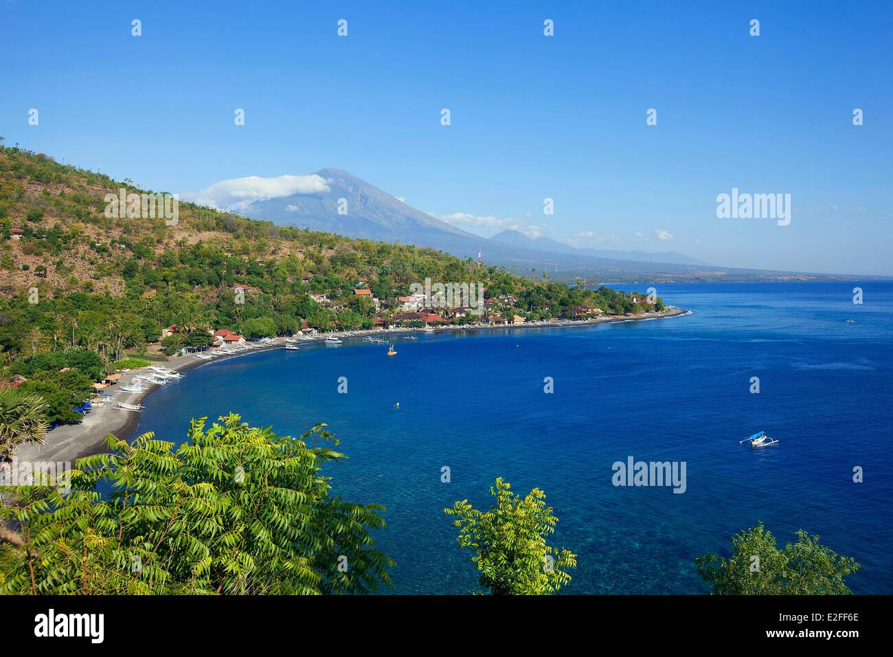 Indonesia, Bali, East Coast, Mount Agung and Amed - Stock Image