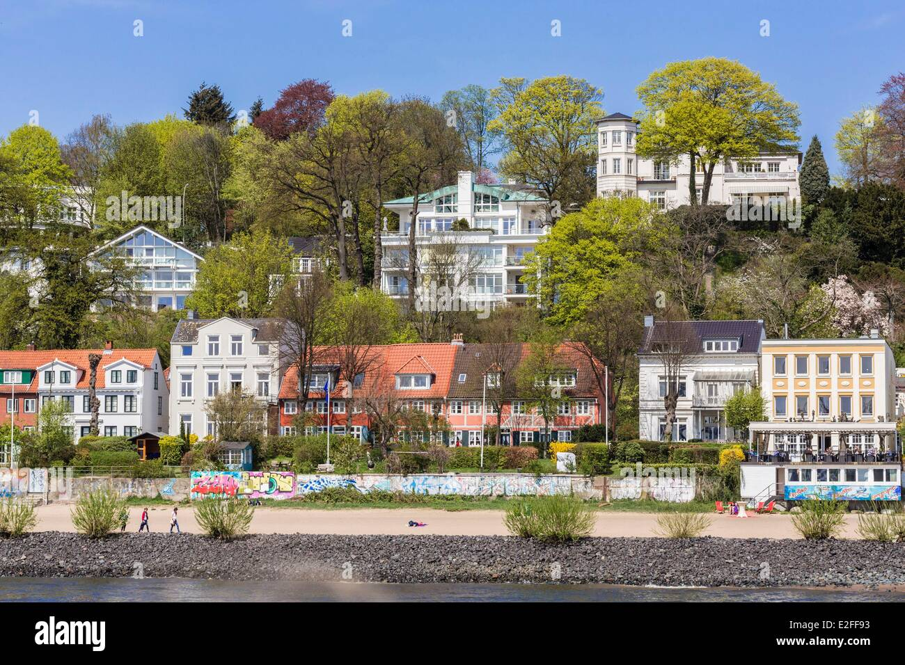 Germany, Hamburg, Ovelgonne area, the Elbe river with its beaches - Stock Image