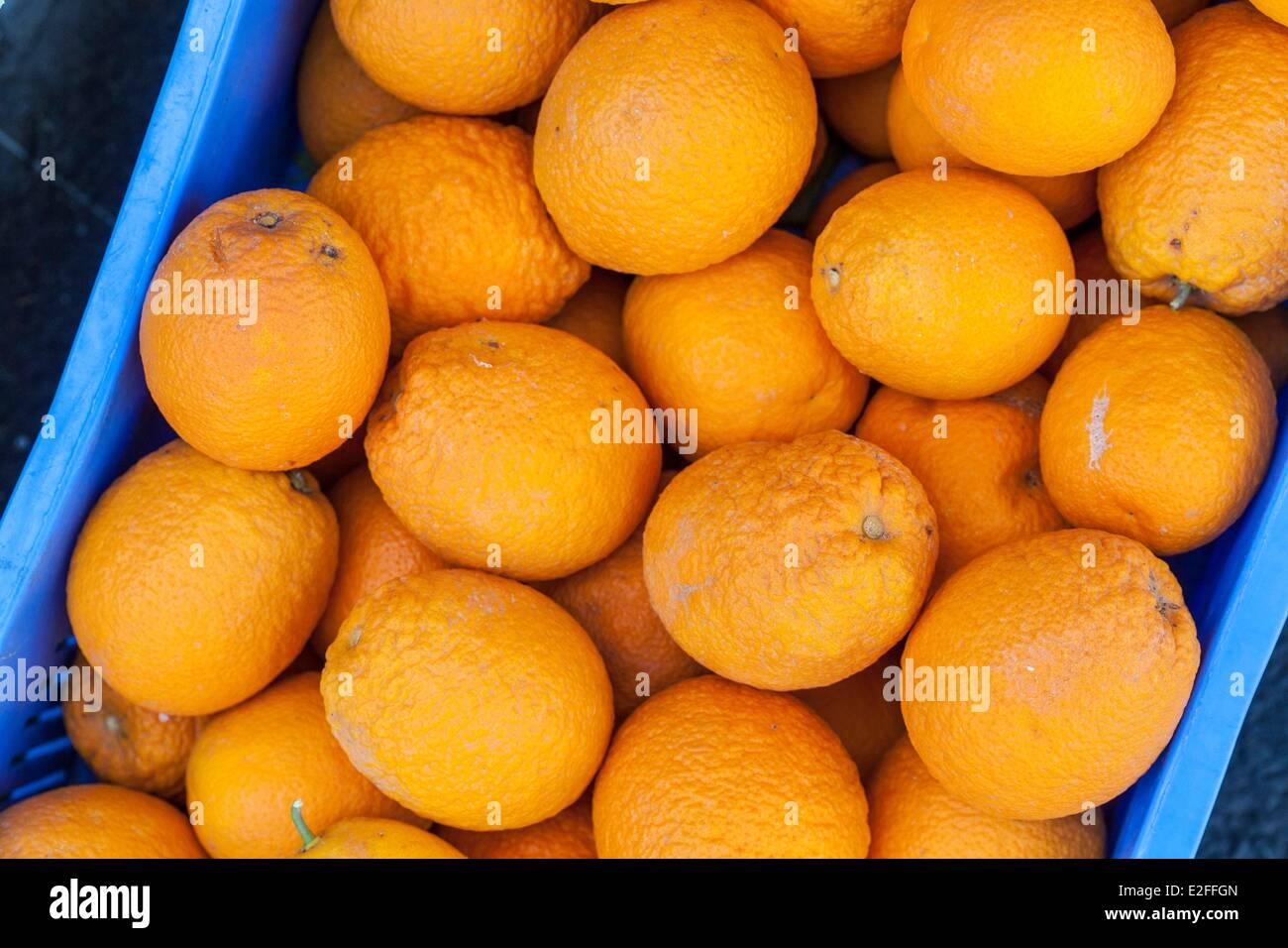 Cyprus, Larnaca, market, oranges in bulk - Stock Image