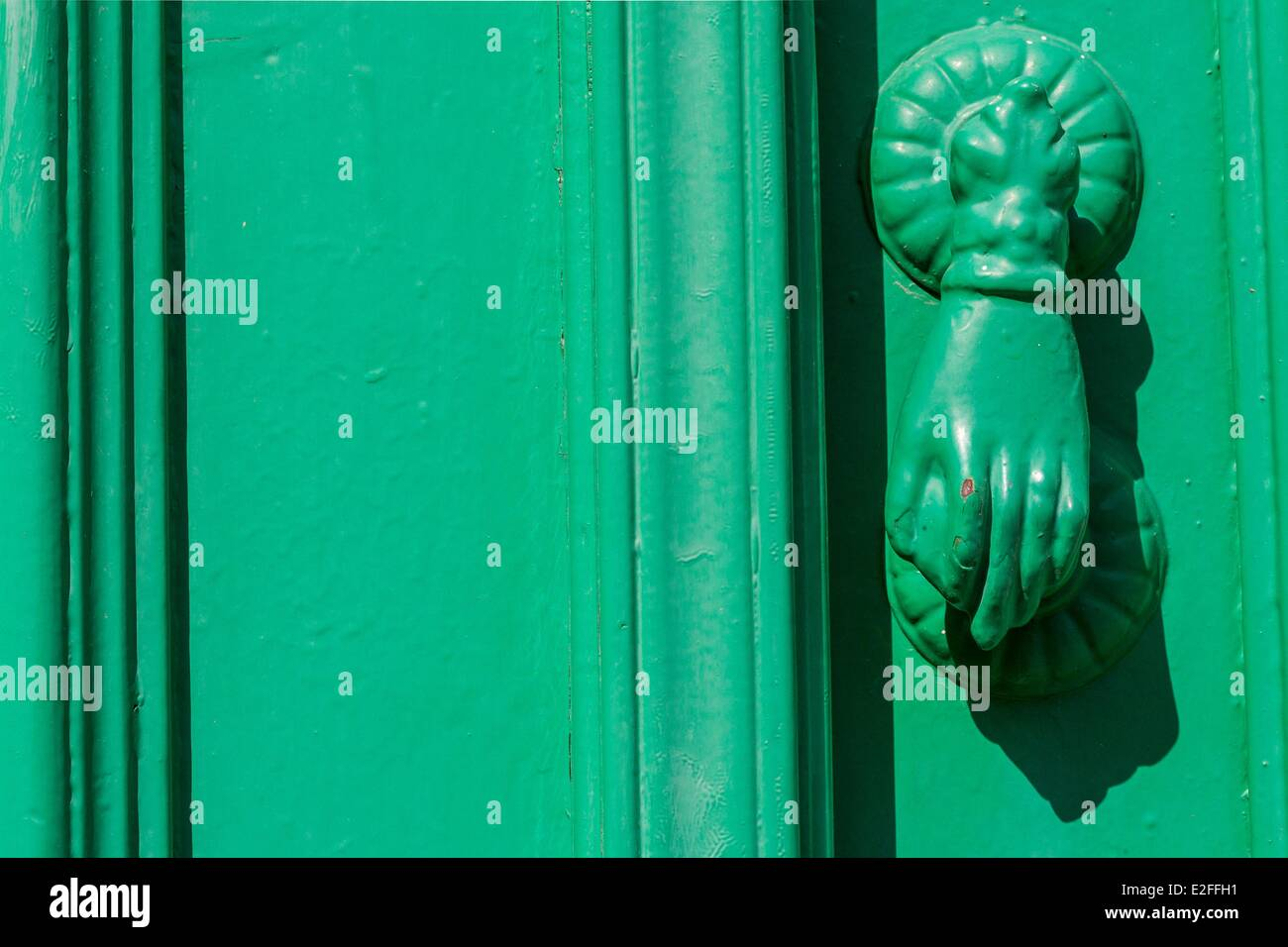 Cyprus, Larnaca district, Lefkara, detail of door - Stock Image