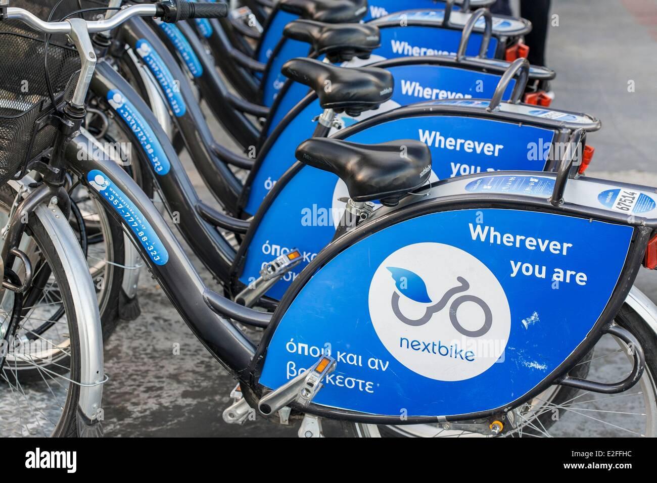 Cyprus, Limassol, Nextbike bicycles self-service - Stock Image