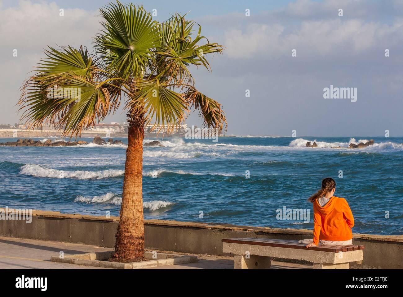 Cyprus, Paphos, seafront promenade - Stock Image