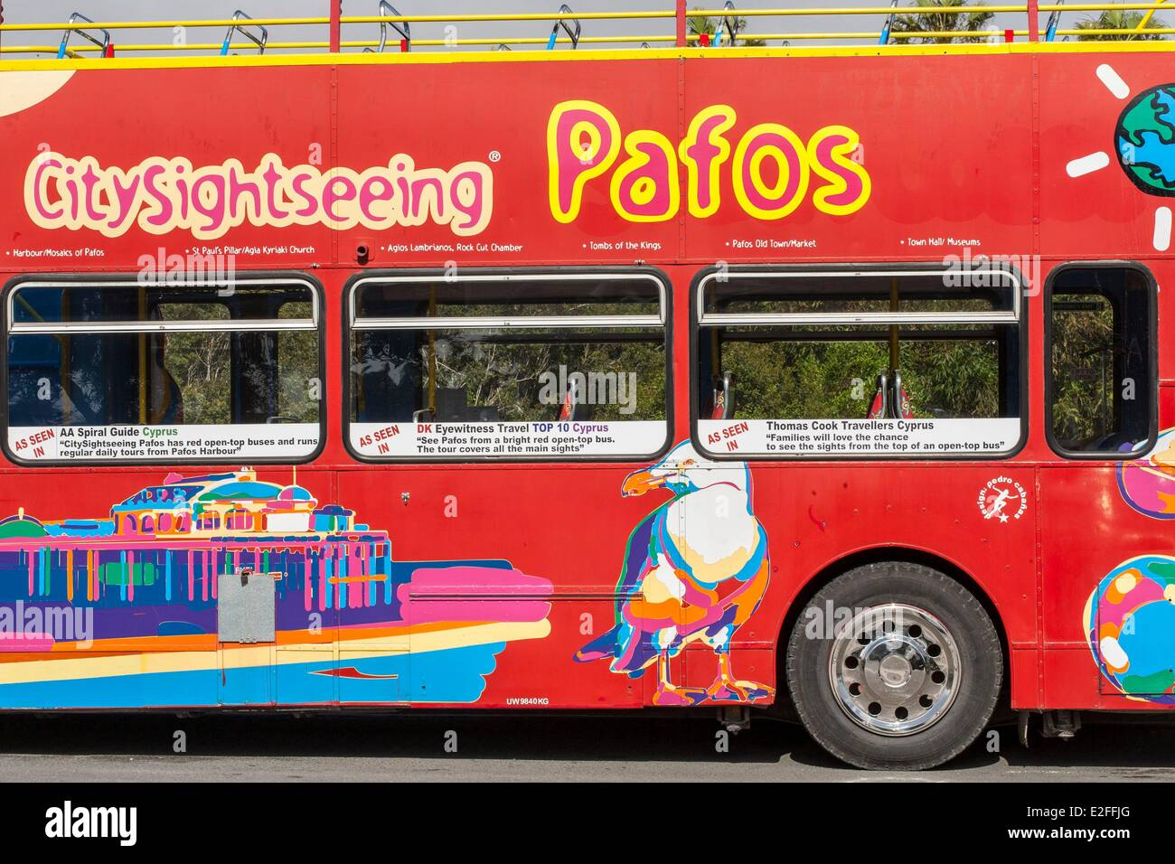 Cyprus, Paphos, city sightseeing bus tour - Stock Image