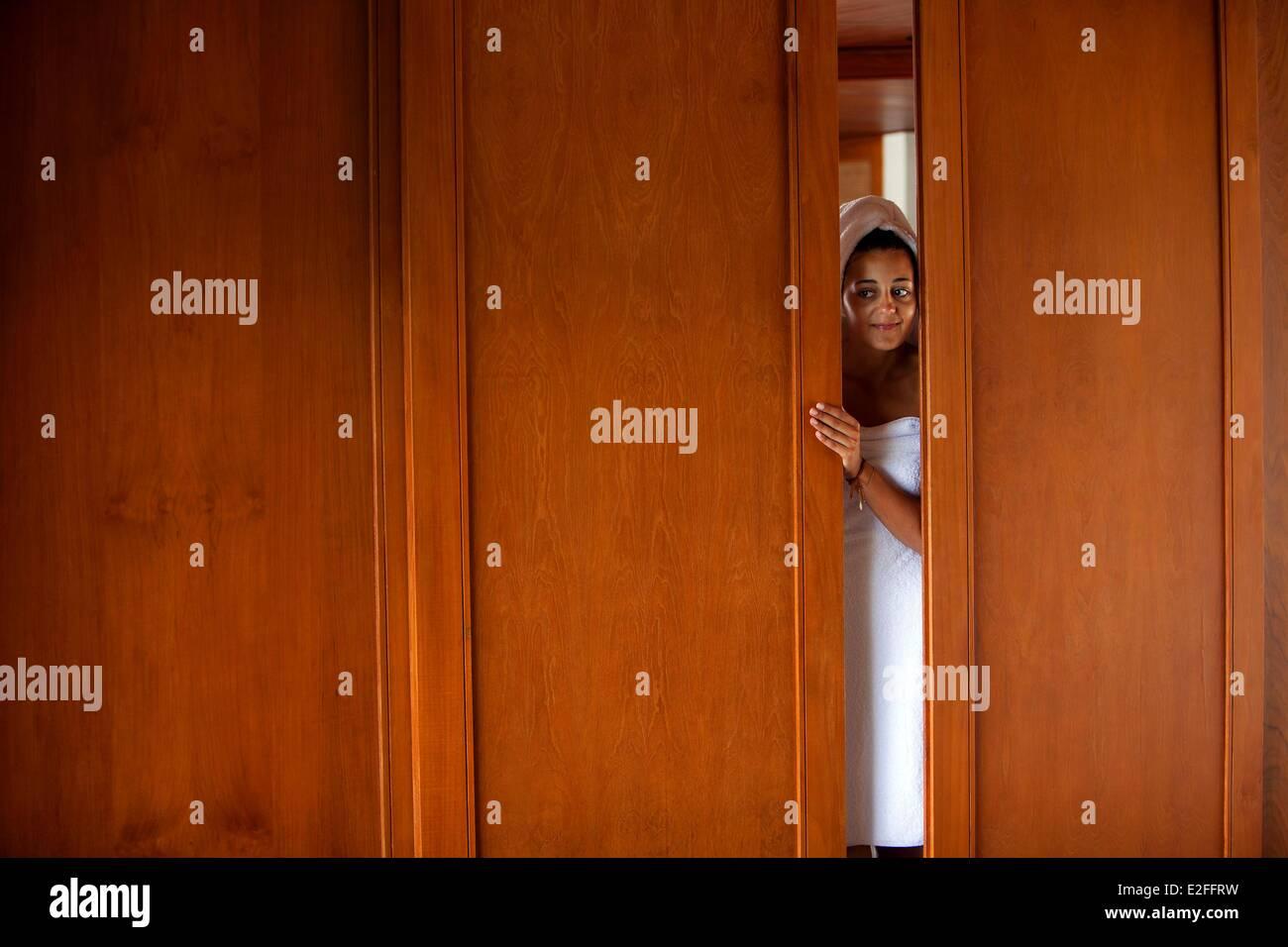 Indonesia, Bali, Ubud, Hotel Amandari, bathroom - Stock Image