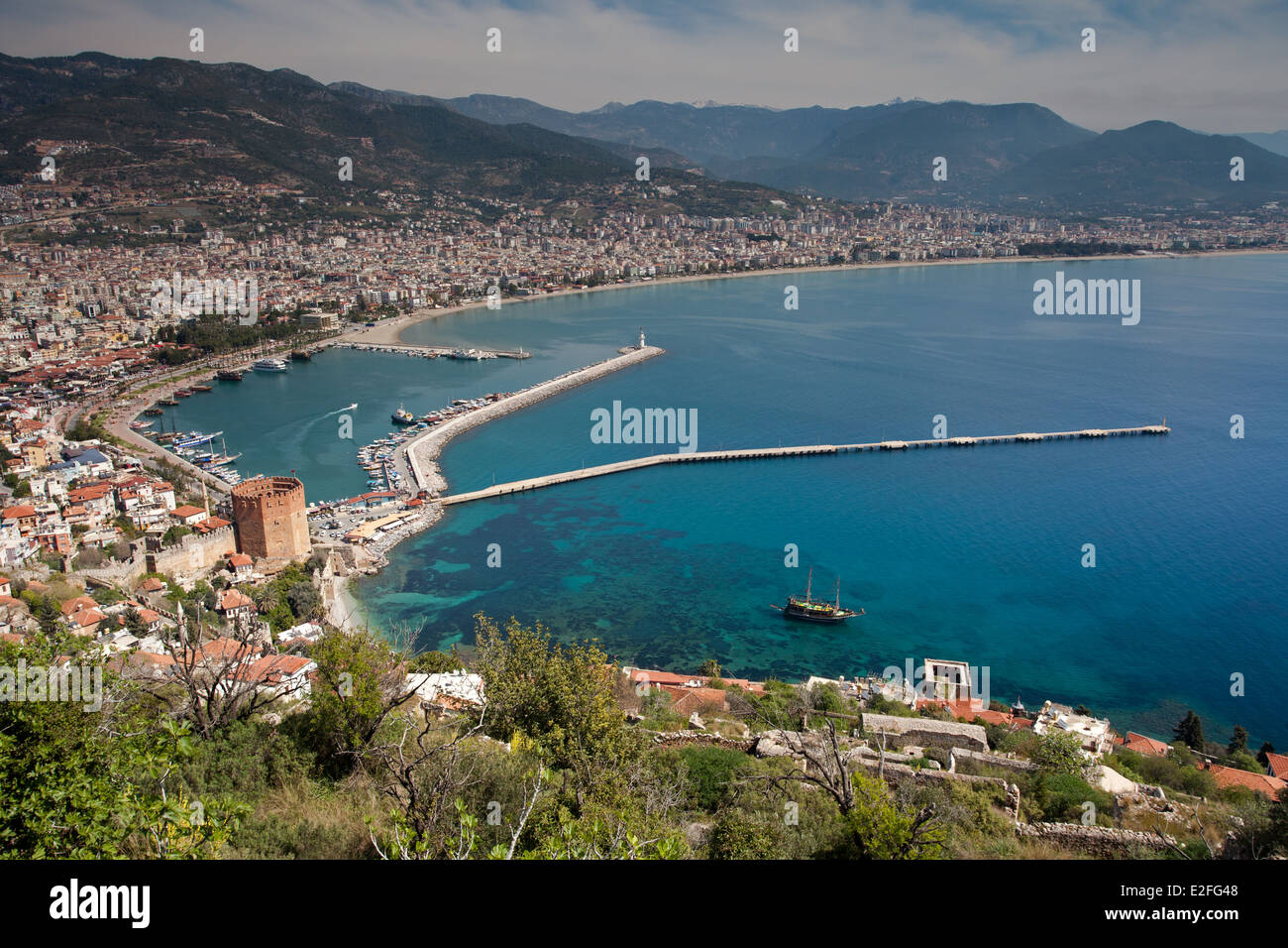 View from Uphill: Alanya Port and Red Tower - Stock Image