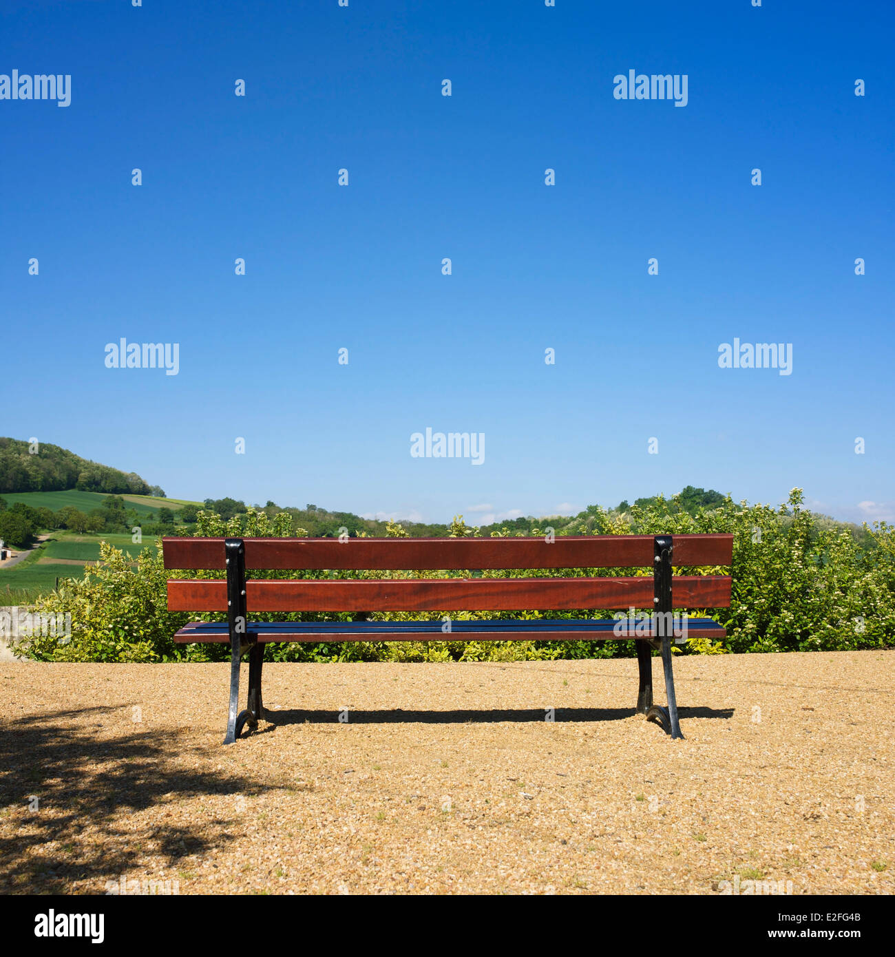 Bench overlooking the countryside - Stock Image