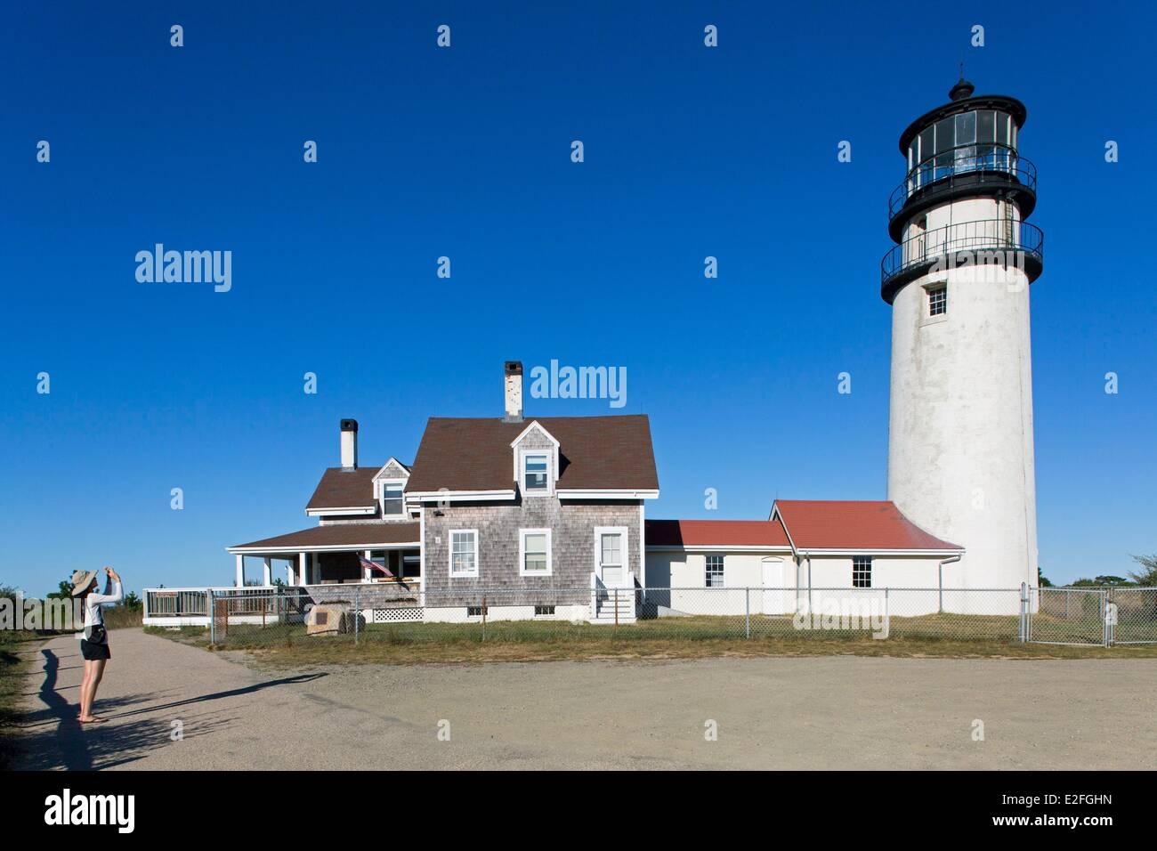 United States, Massachusetts, Cape Cod, Truro, Highland Lighthouse - Stock Image