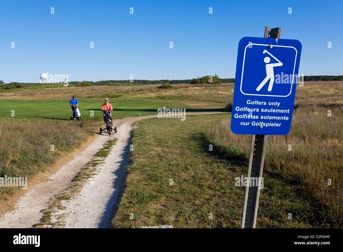 United States, Massachusetts, Cape Cod, Truro, Highland Lighthouse, golf course - Stock Image