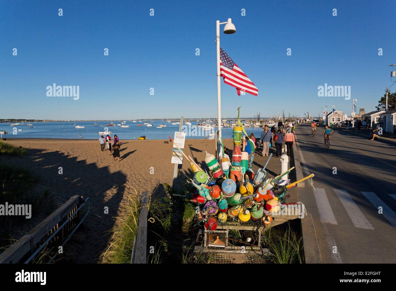 United States, Massachusetts, Cape Cod, Provincetown, the beach and the Pier - Stock Image