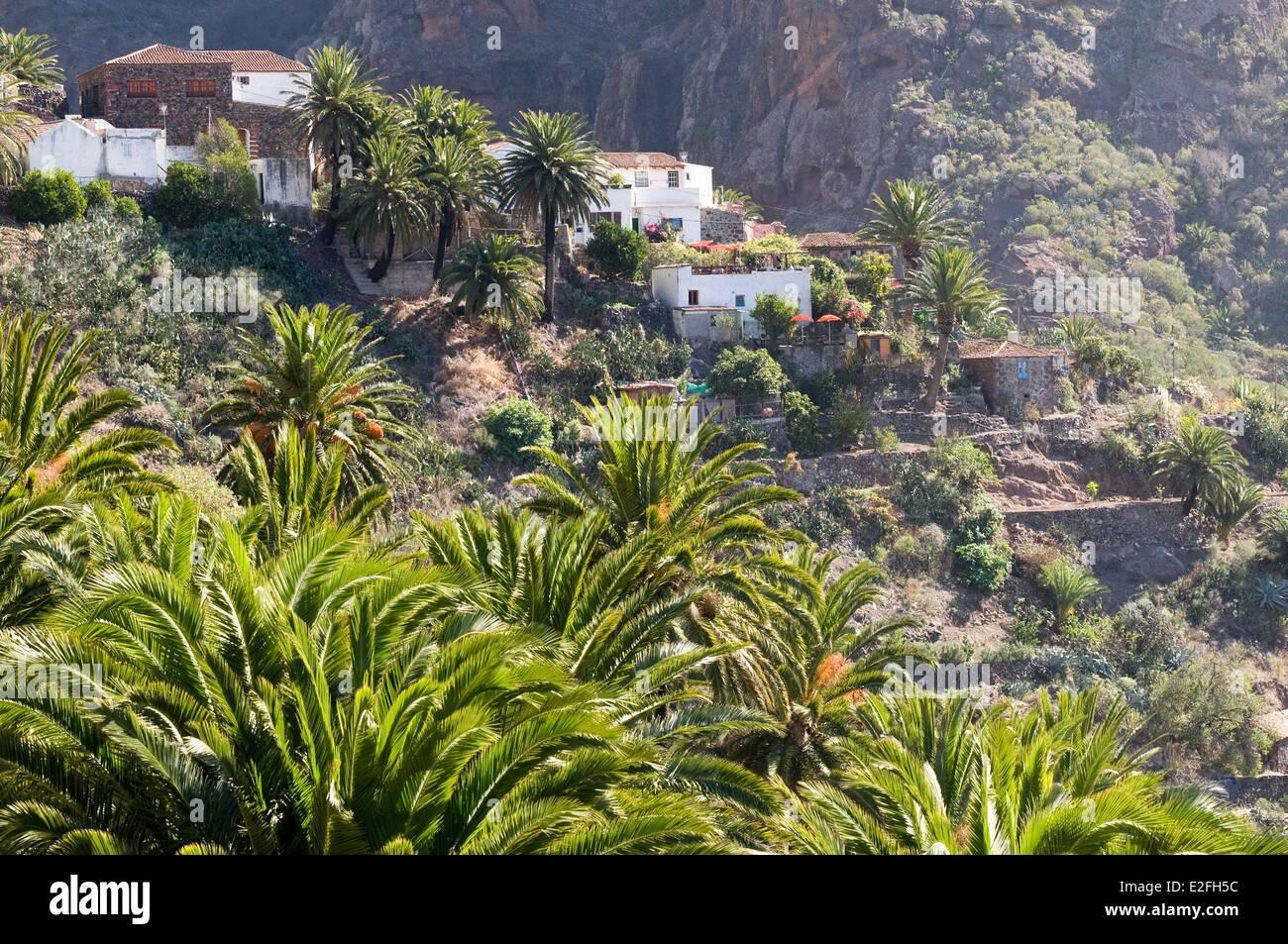 Spain, Canary Islands, Tenerife Island, Parque Rural de Teno, small village of Masca Stock Photo