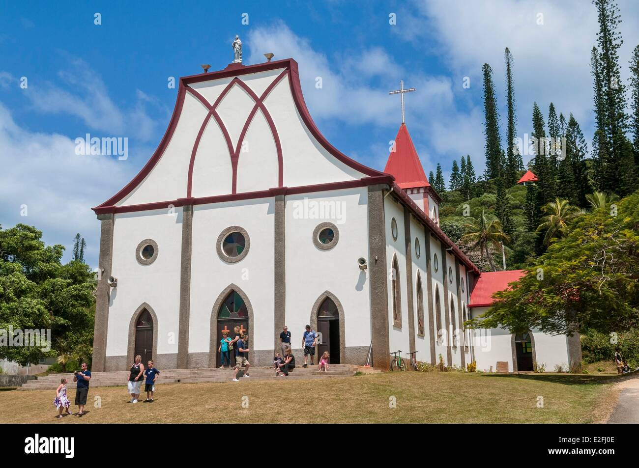France, New Caledonia, Ile des Pins, church of Vao built by convicts in 1903 - Stock Image