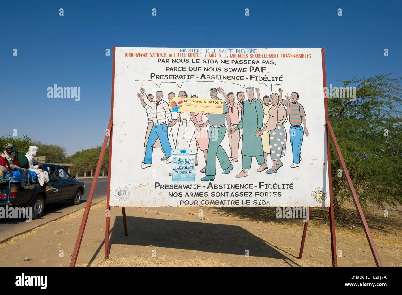 Chad, N'djamena, signpost about the fight against AIDS - Stock Image