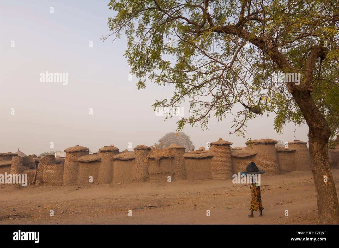 Chad Sahel Mayo Kebbi Lere adobe palace of the gon or king of the Moundang with the huts of his numerous wifes and - Stock Image