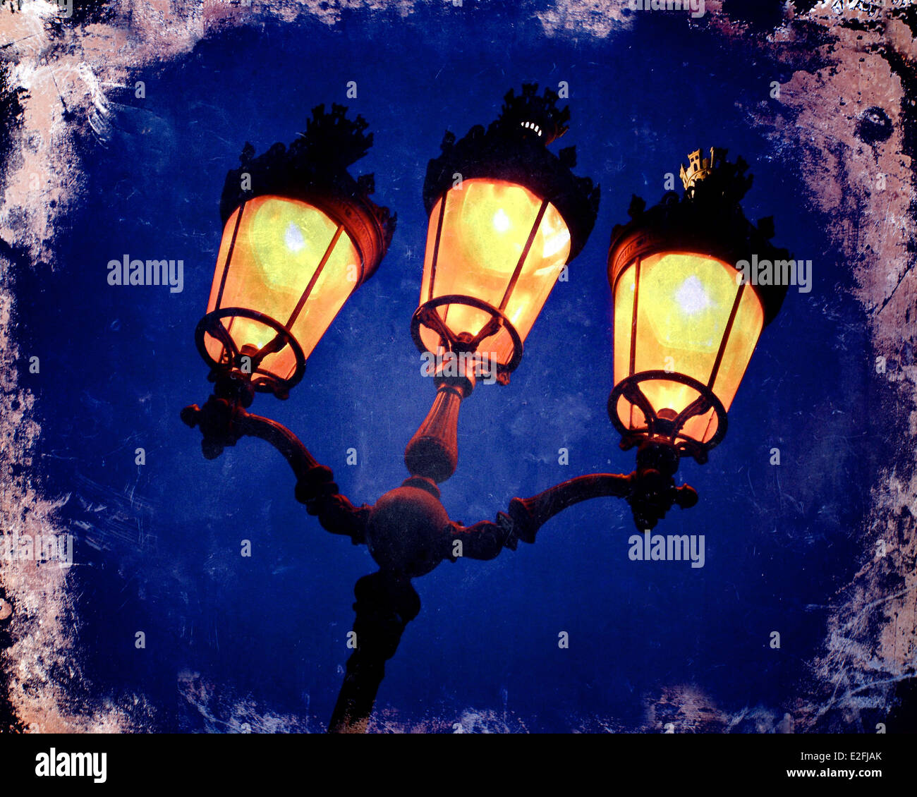 Street lamp illuminated - art effect image - Stock Image