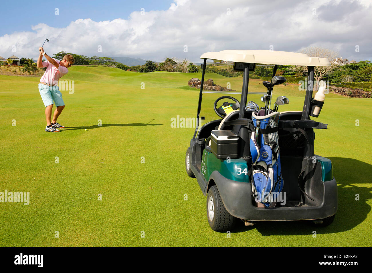 Mauritius Bel Ombre Heritage golf course Matthieu Millet golf instructor - Stock Image