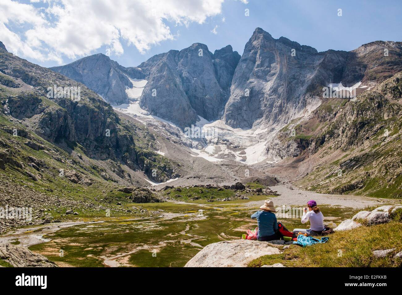 France Hautes Pyrenees Pyrenees National Park GR10 grande randonnee footpath in the Gaube valley north face of the Stock Photo