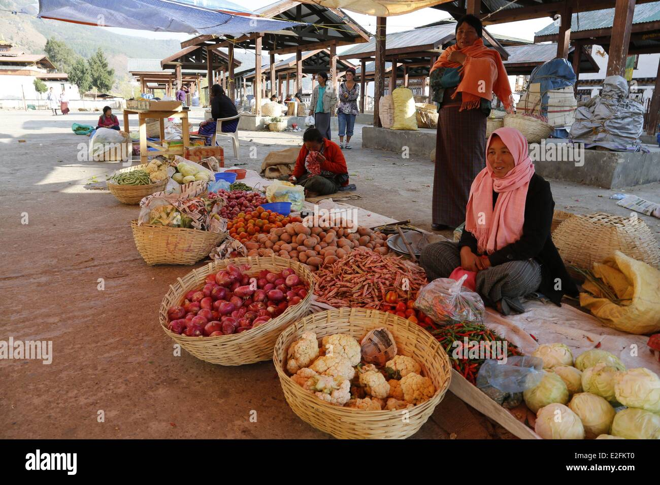 Bhutan district of Paro Paro vegetables stall at the market - Stock Image