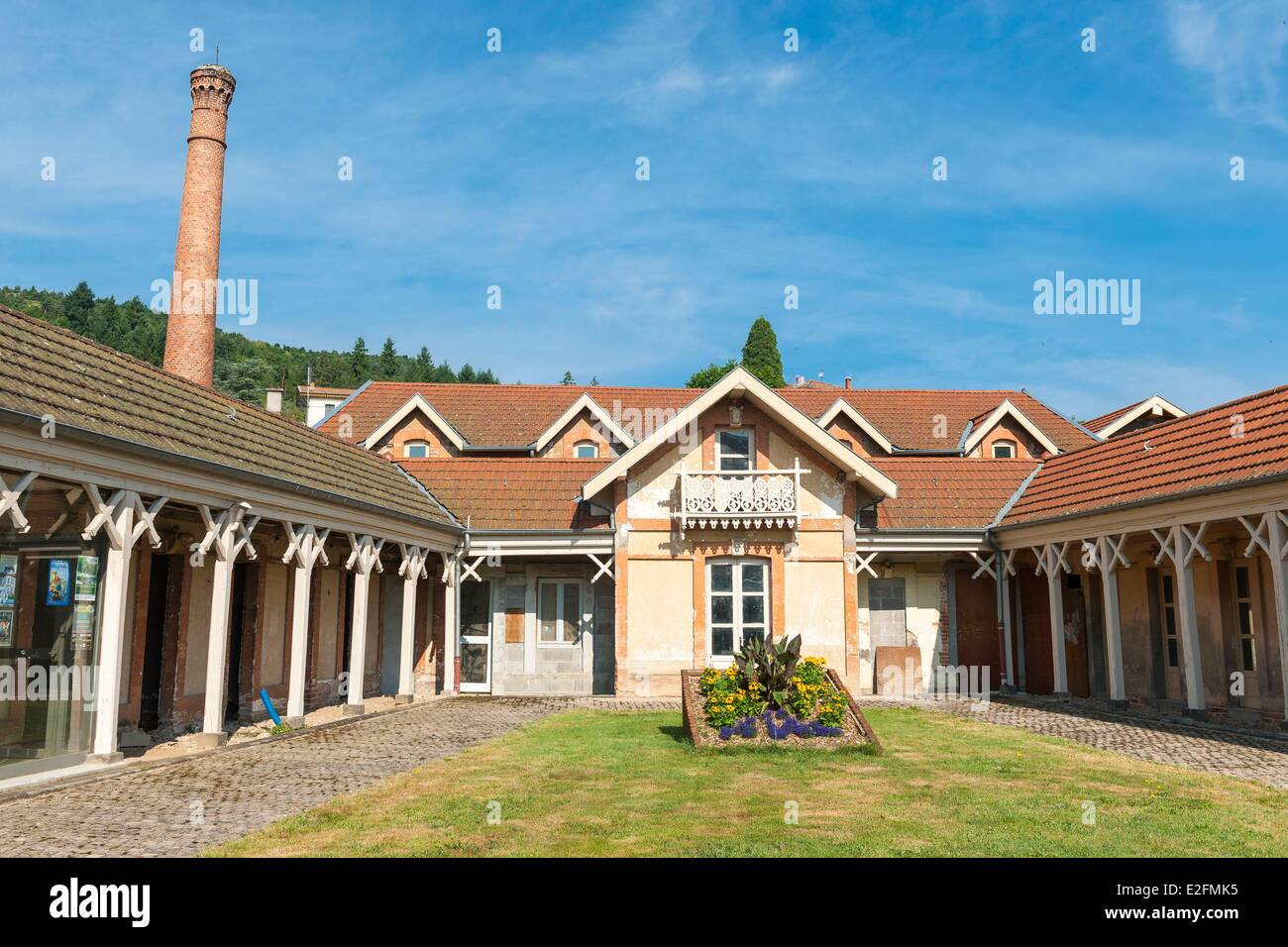 France Loire Sail sous Couzan village nestled at the foot of the Monts du Forez the former public bathhouse - Stock Image