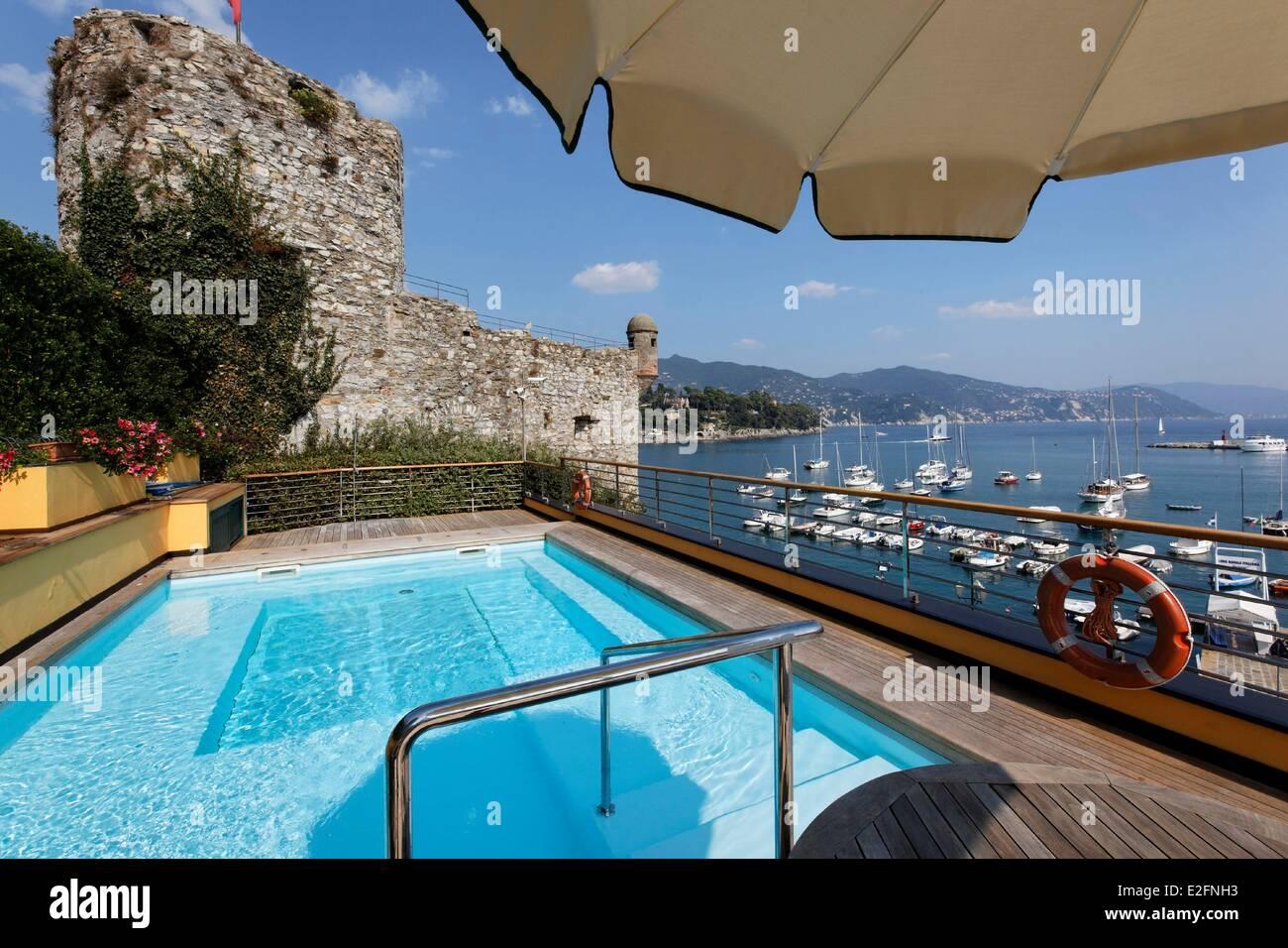 Italy Liguria Santa Margherita di Ligura hotel Laurin rooftop pool - Stock Image