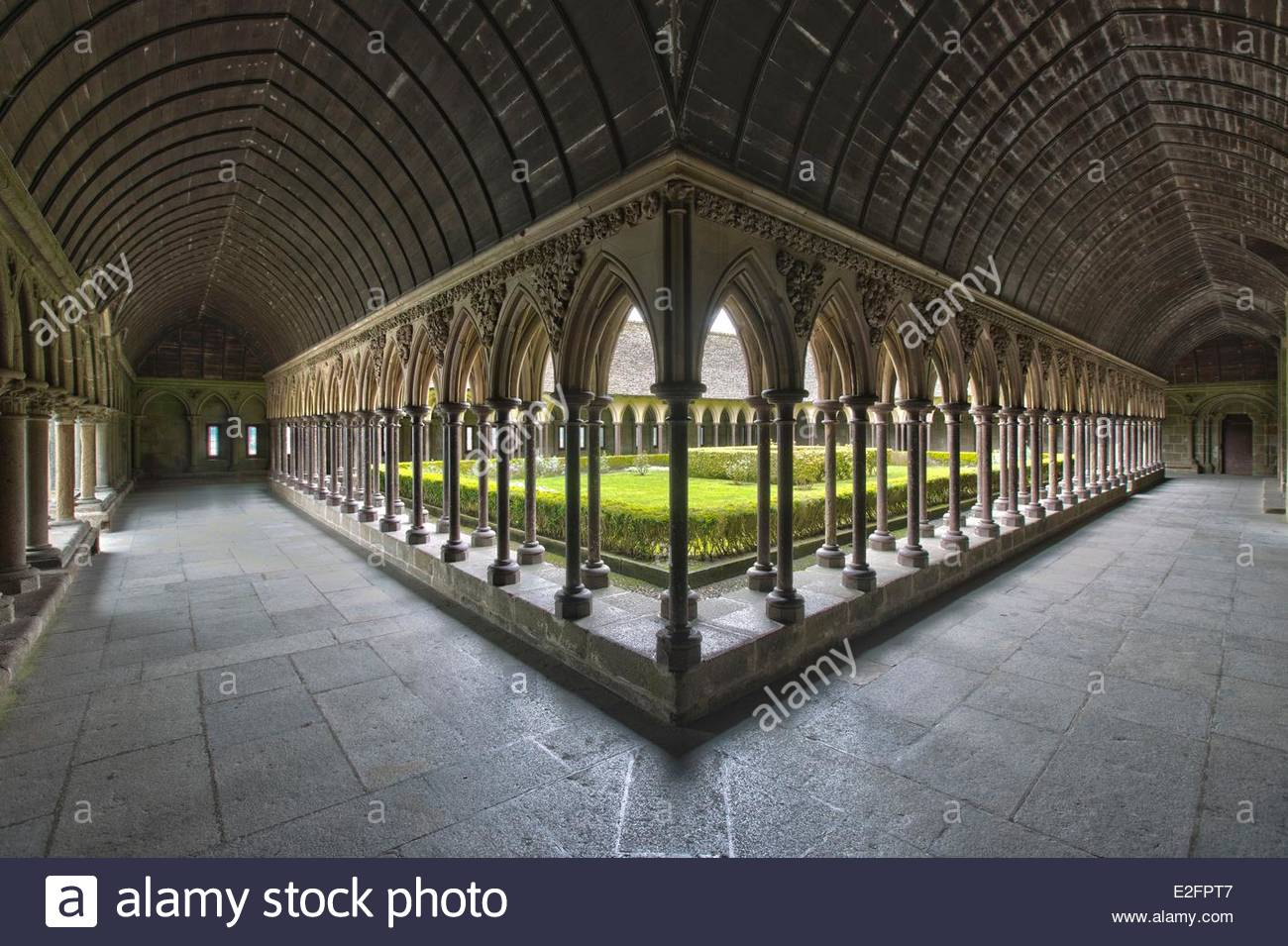 France Manche Bay of Mont Saint Michel listed as World Heritage by UNESCO The Mont Saint Michel Abbey Cloister - Stock Image
