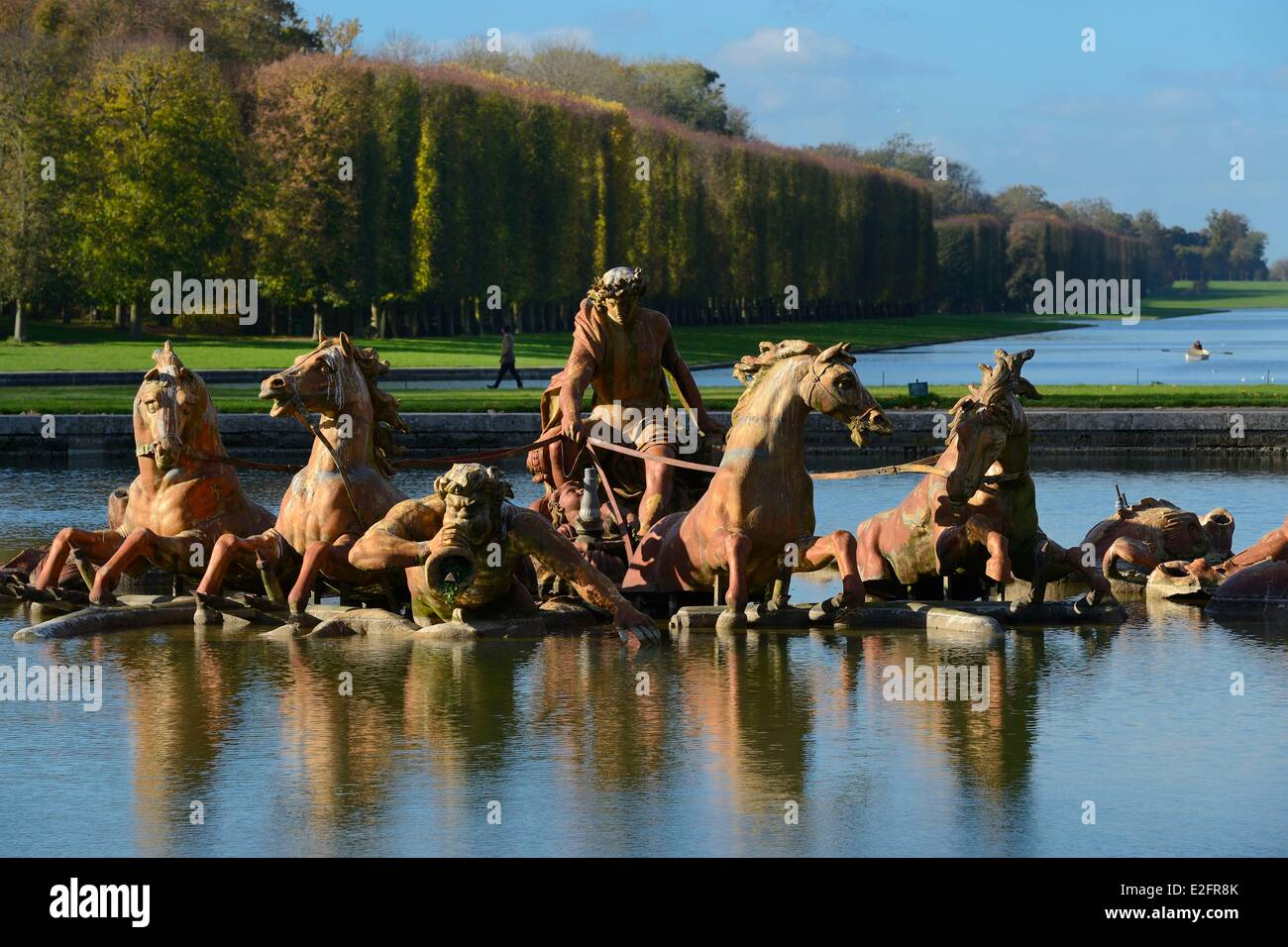 France Yvelines park of the Chateau de Versailles listed as World Heritage by UNESCO Apollo basin and the Grand - Stock Image