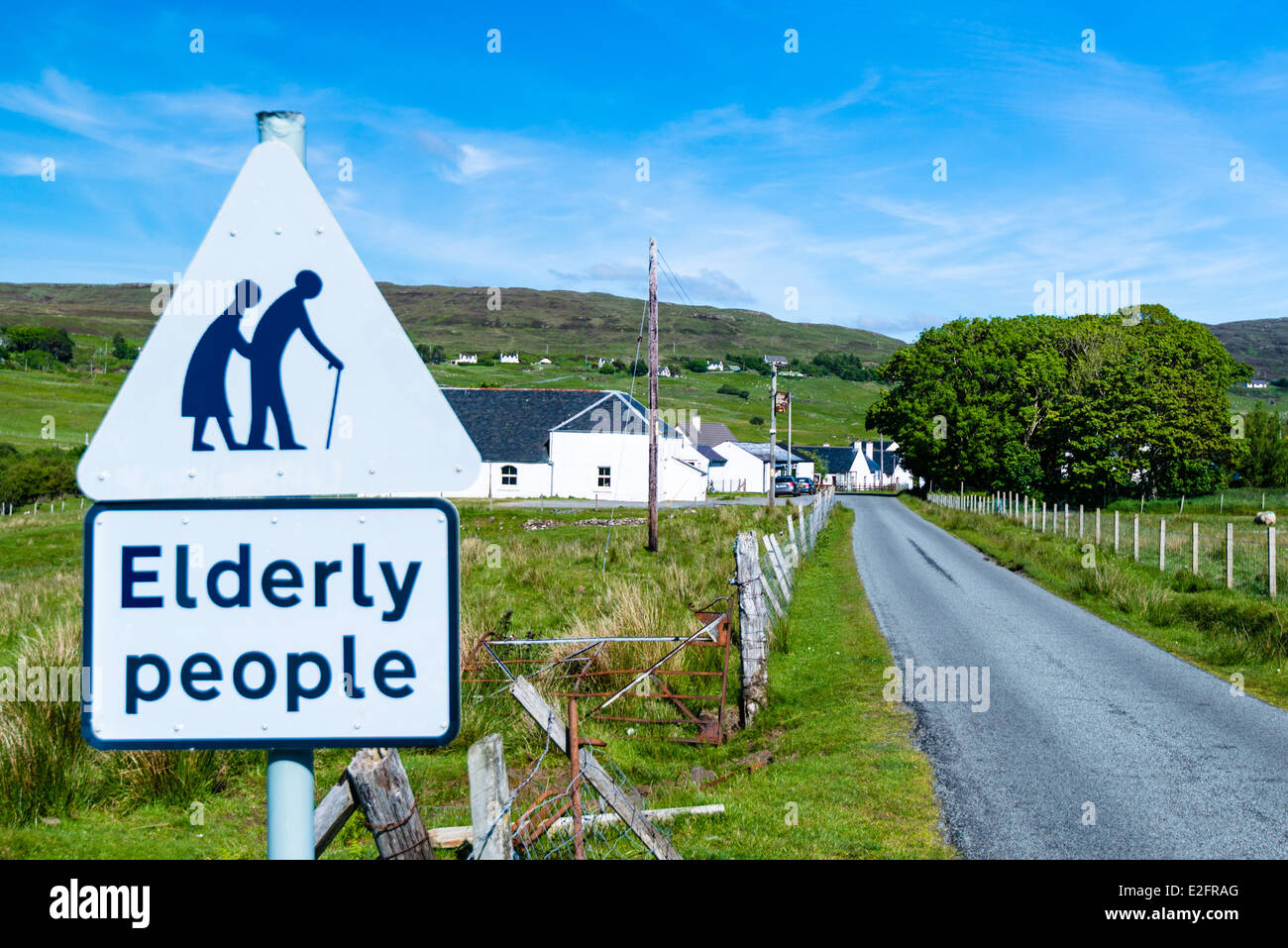 traffic sign for paying attention for elderly people - Stock Image