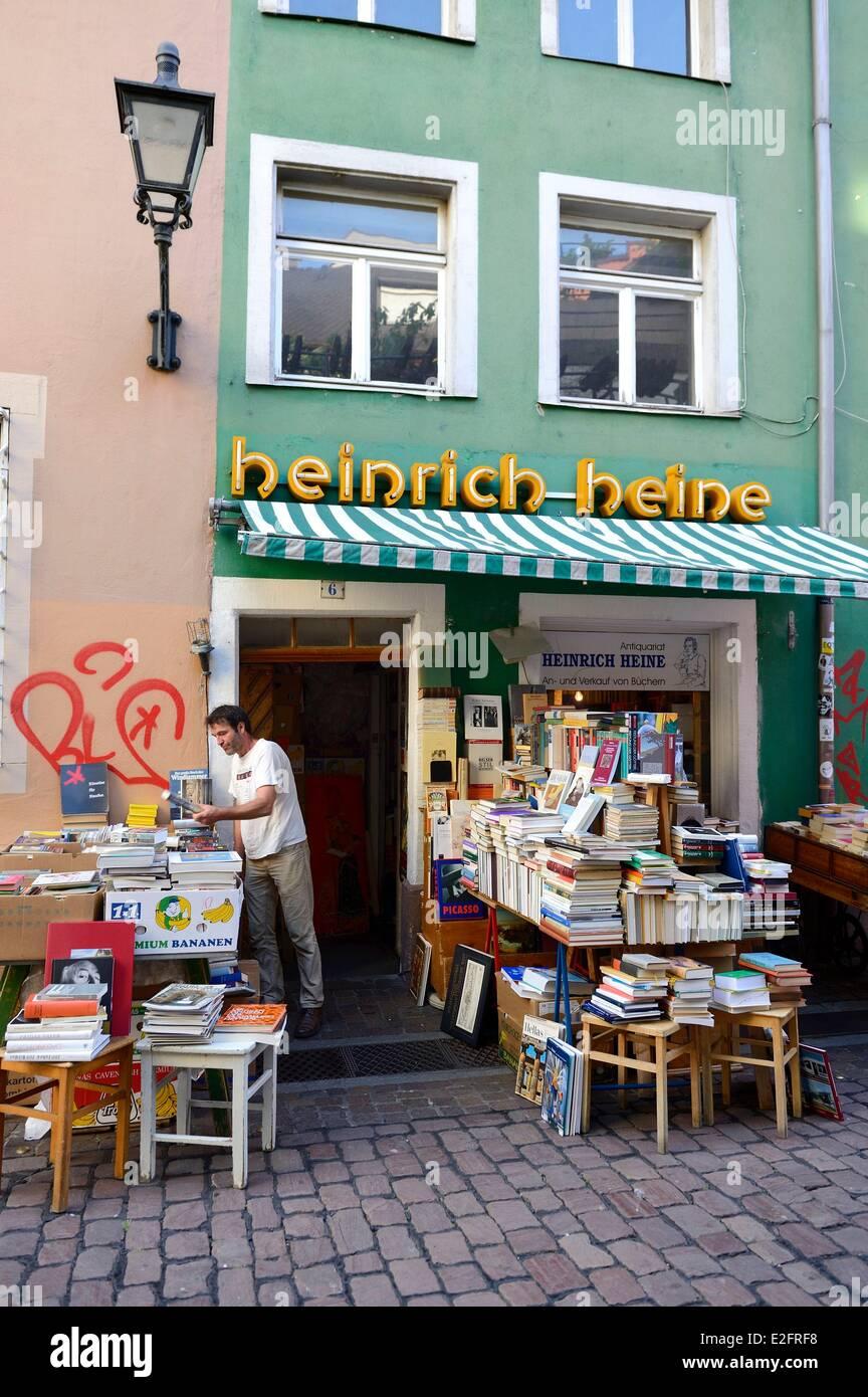 Germany Baden Wurttemberg Freiburg im Breisgau secondhand bookshop - Stock Image
