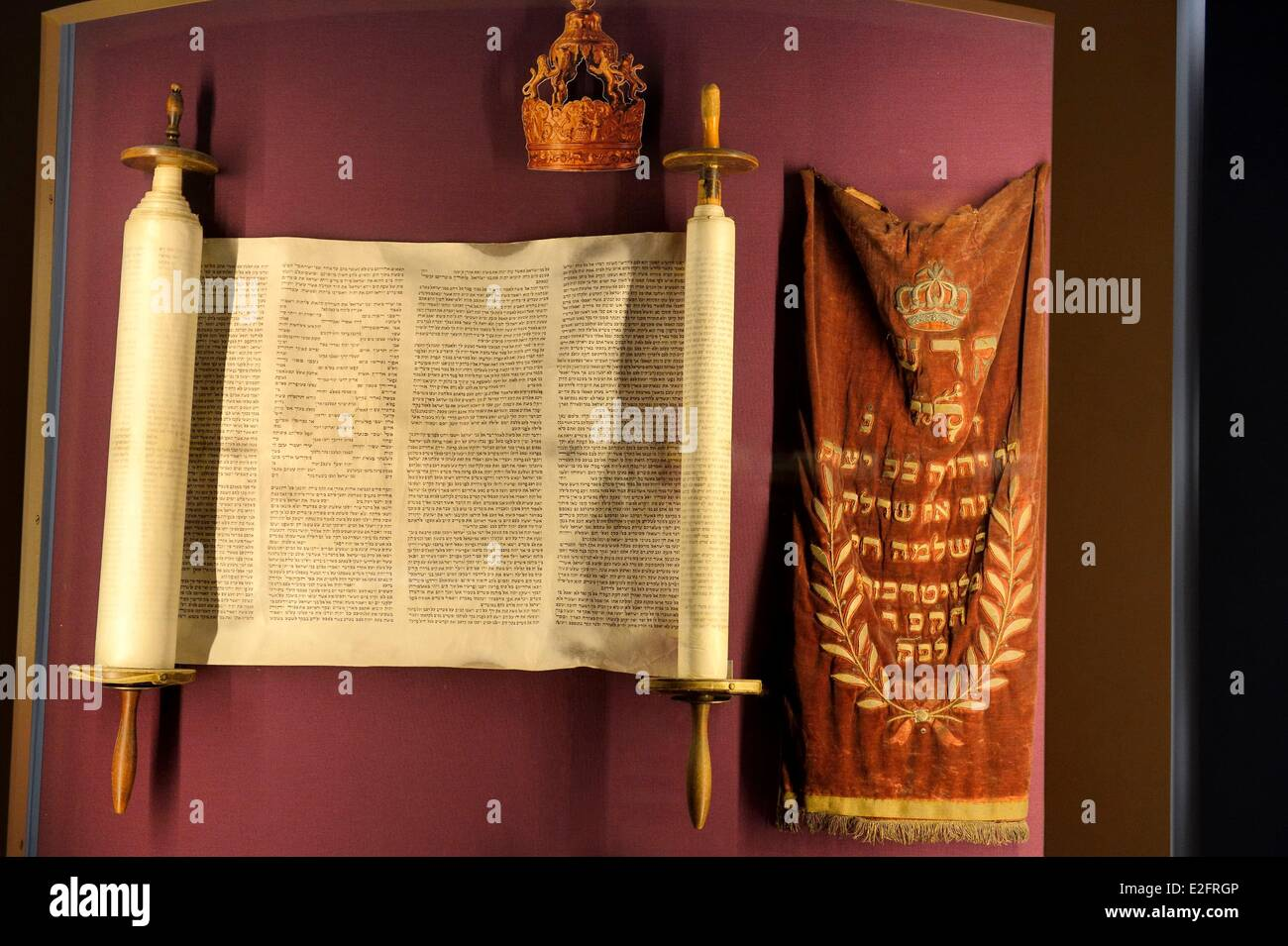 France Bas Rhin Bouxwiller Jewish Alsatian museum in the former synagogue Torah and the Mendele (small coat in alsatian) - Stock Image