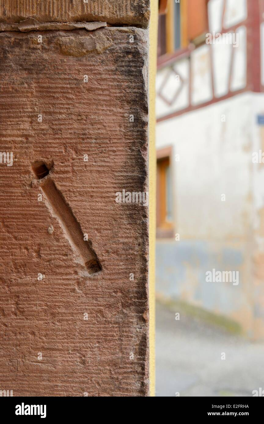 France Bas Rhin Westhoffen former Jewish quarter trace of a mezuzah on the lintel of a house - Stock Image