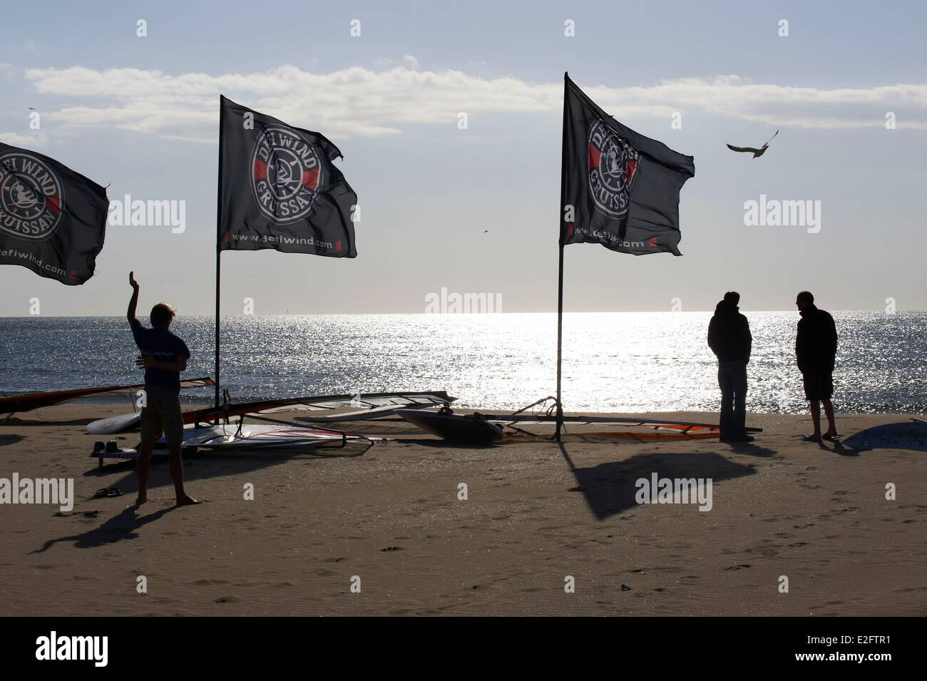 France Aude Gruissan. Gruissan Beach cottages Wind Challenge which takes place in May of Wind Surf competition is Stock Photo