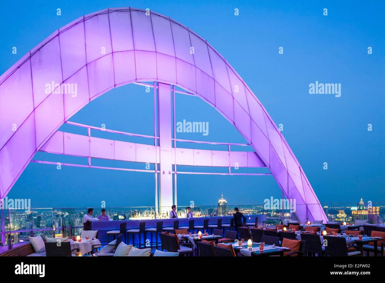 Thailand Bangkok Centara Grand at CentralWorld Restaurant and Red Sky bar on the roof - Stock Image