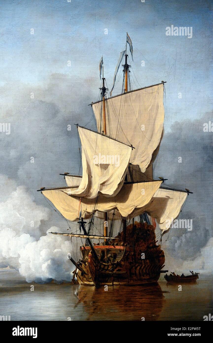 Netherlands Amsterdam Rijksmuseum Willen van de Veld (1633 1707) Dutch warship - Stock Image