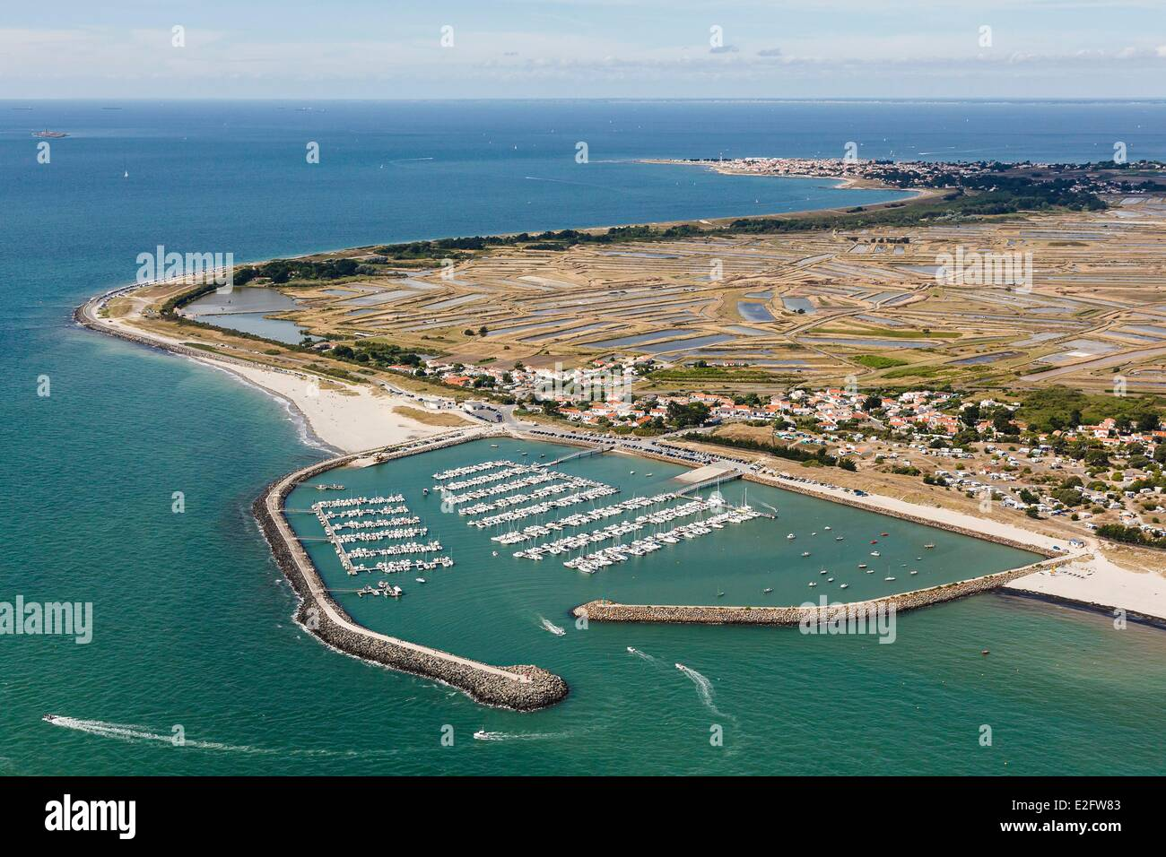 France Vendee Ile de Noirmoutier L'Epine the marina and the marshes (aerial view) - Stock Image