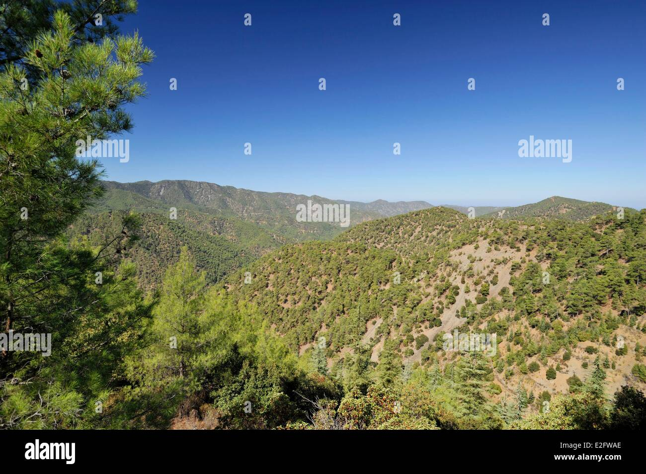 Cyprus Nicosia District Tsakistra overlooking the valley mountains and greenery - Stock Image
