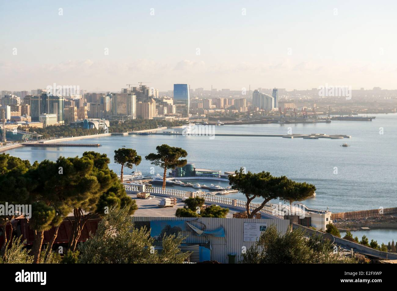 Azerbaijan Baku view on Caspian Sea from Alley of Martyrs - Stock Image