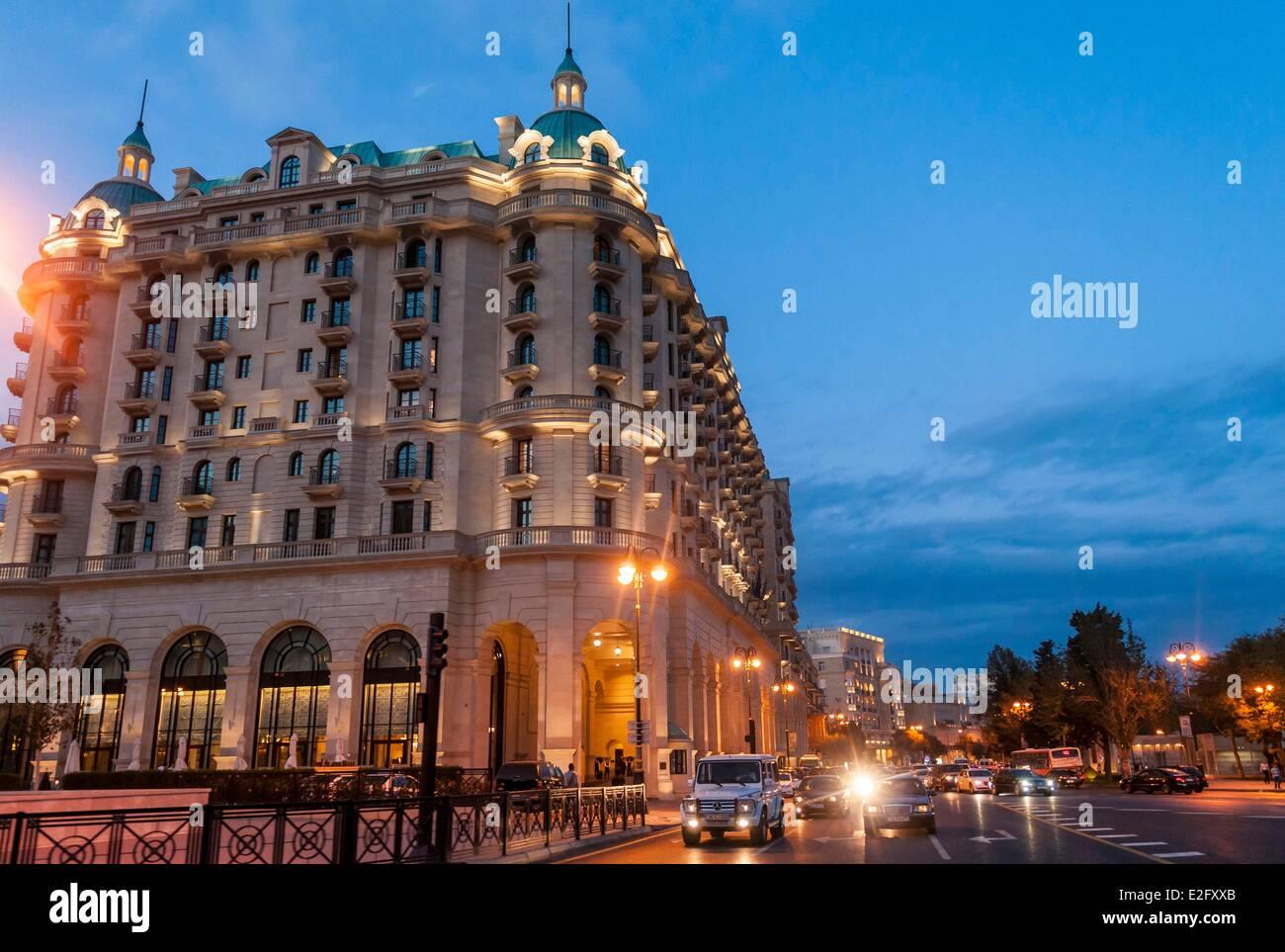 Azerbaijan Baku new Four Seasons hotel along the Neftciler Prospekt avenue also called Bulvar Stock Photo