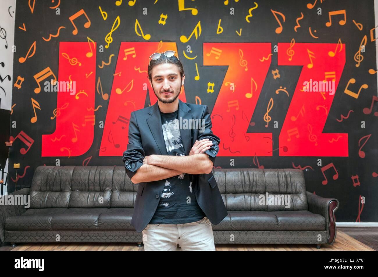 Azerbaijan Baku Isfar Sarabski international jazz pianist born in Baku in the Jazz club of downtwon - Stock Image