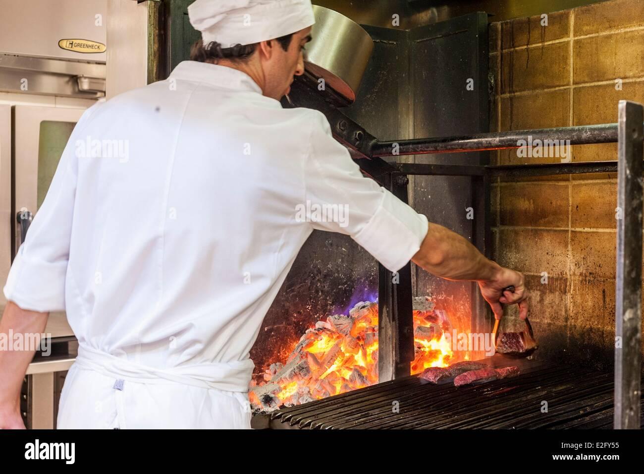 Argentina Buenos Aires Recoleta district Palacio Duhau Park Hyatt grilled in the kitchens of Duhau Restaurante - Stock Image