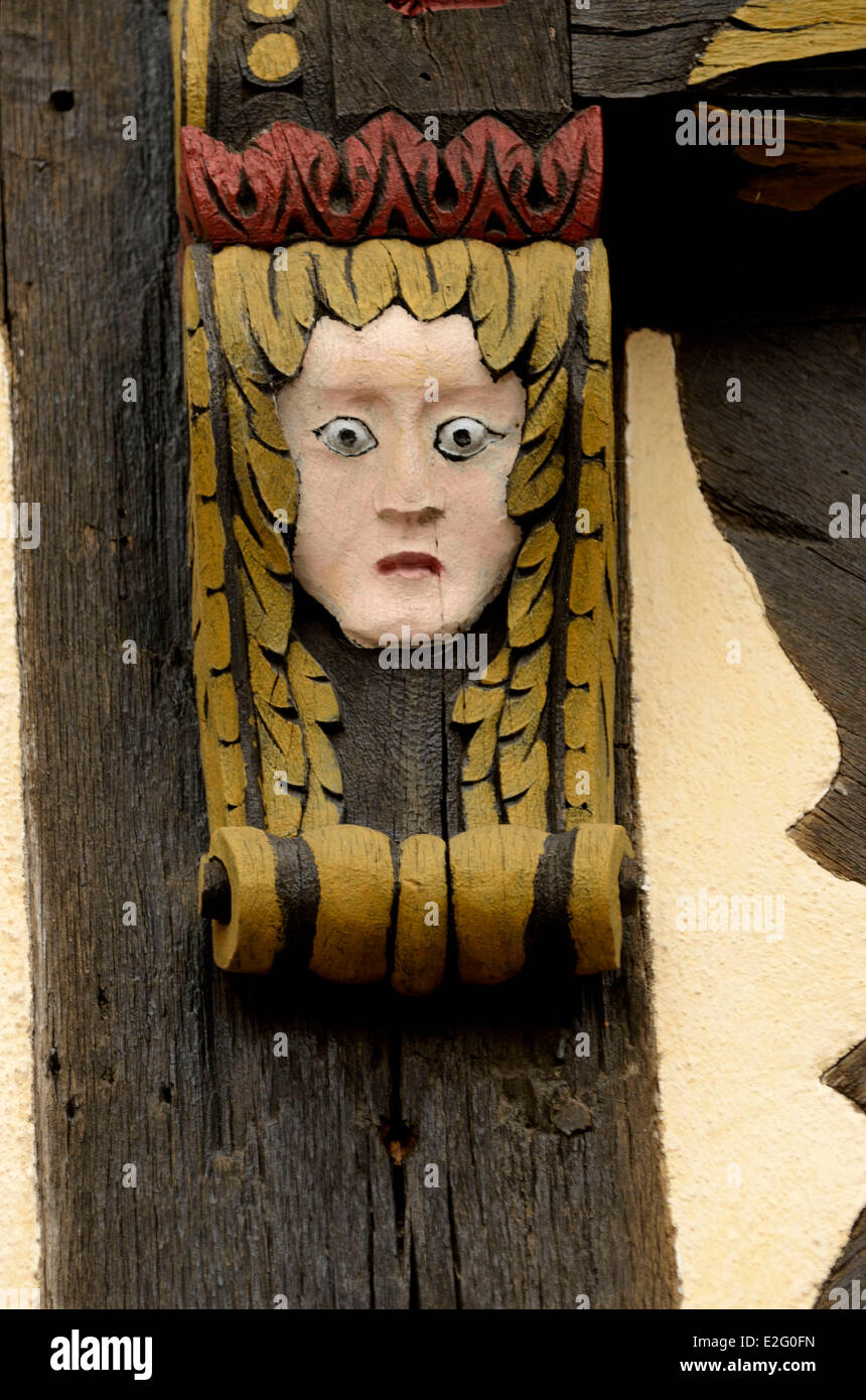France Haut Rhin Alsace Wine Route Kaysersberg De Gaulle street timbered houses the house Brief sculptures personages - Stock Image