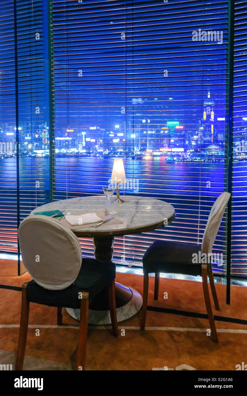 China Hong Kong Kowloon District The Peninsula hotel panoramic Felix restaurant drawn by the architect Philippe - Stock Image