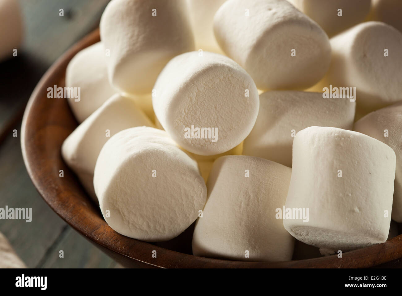 Unhealthy Large White Marshmallows on a Background - Stock Image
