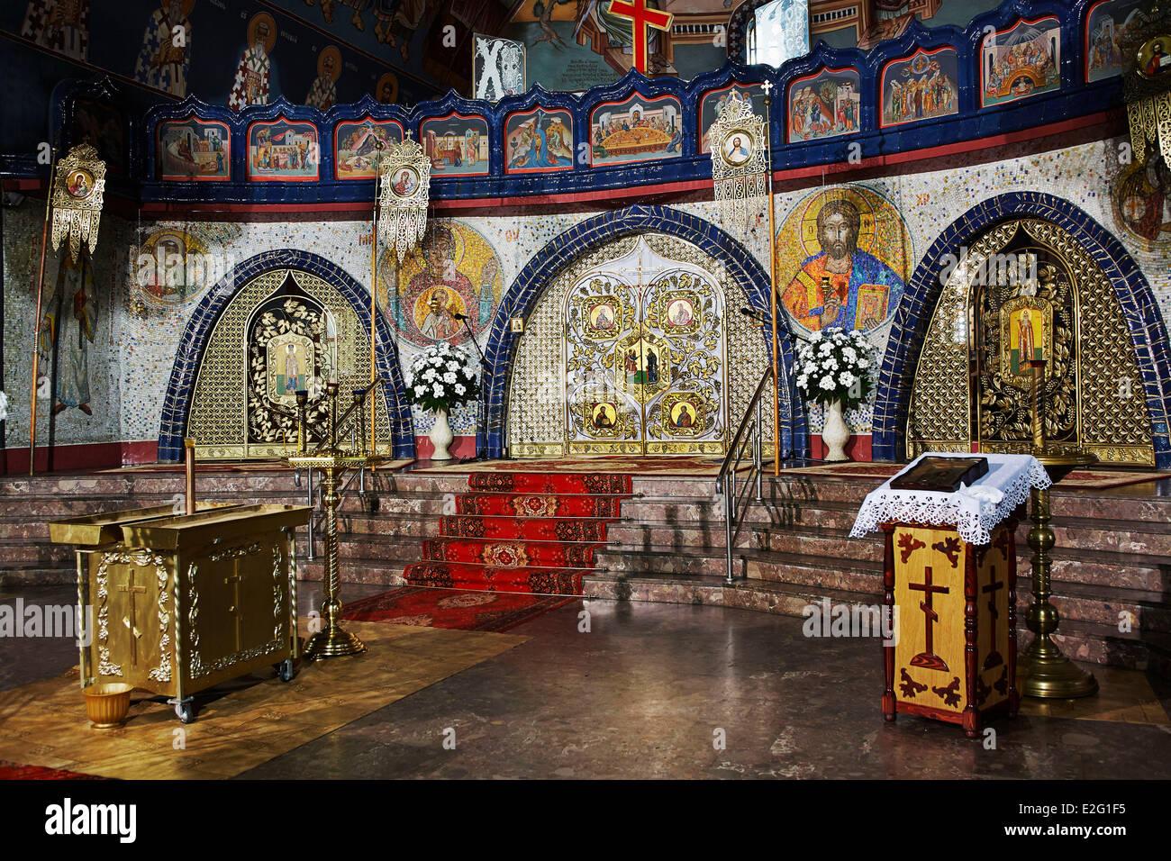 Poland Podlaskie Hajnowka inside the Holy Trinity Orthodox Church which takes place every year the internationnal - Stock Image
